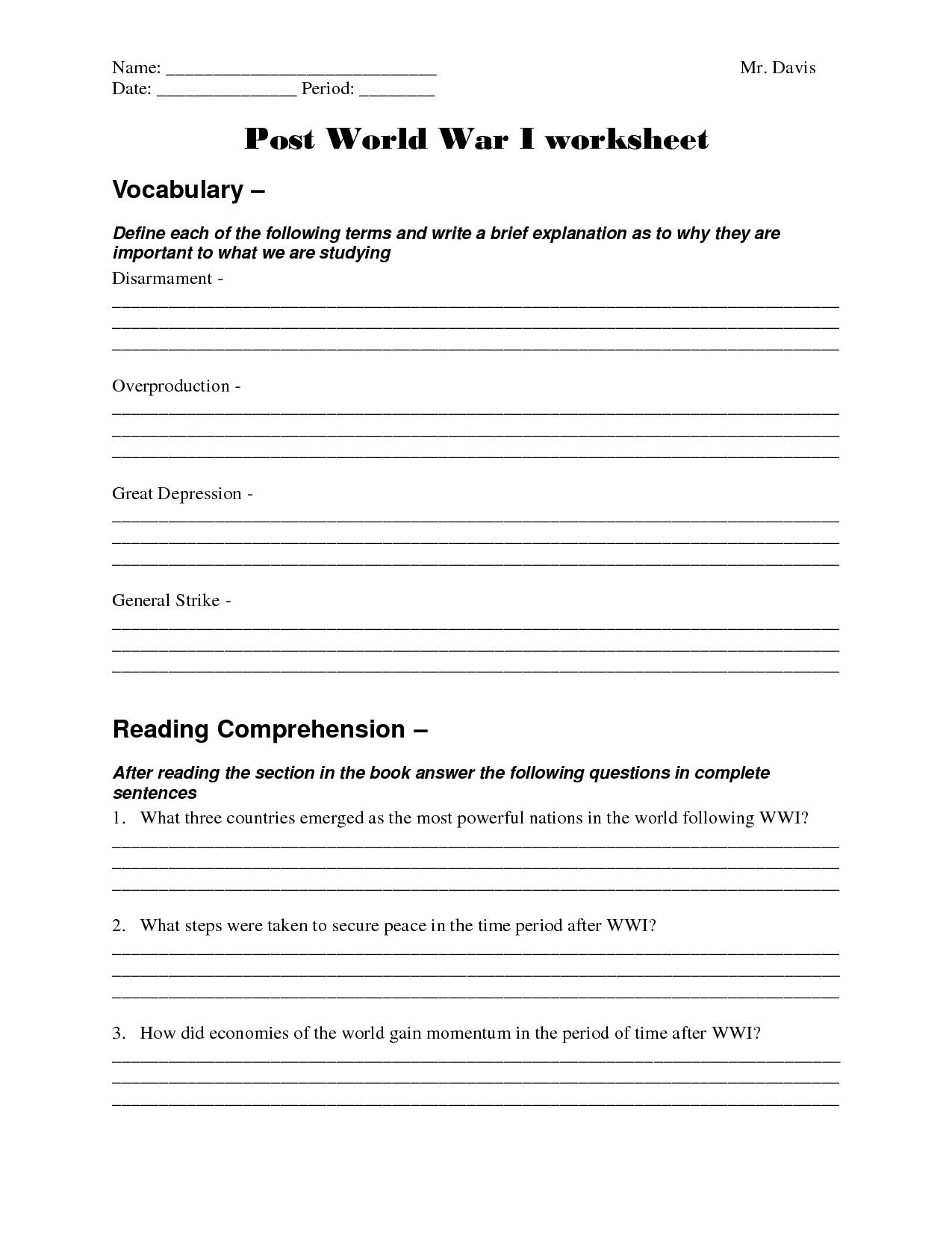 Wwii Causes Worksheet