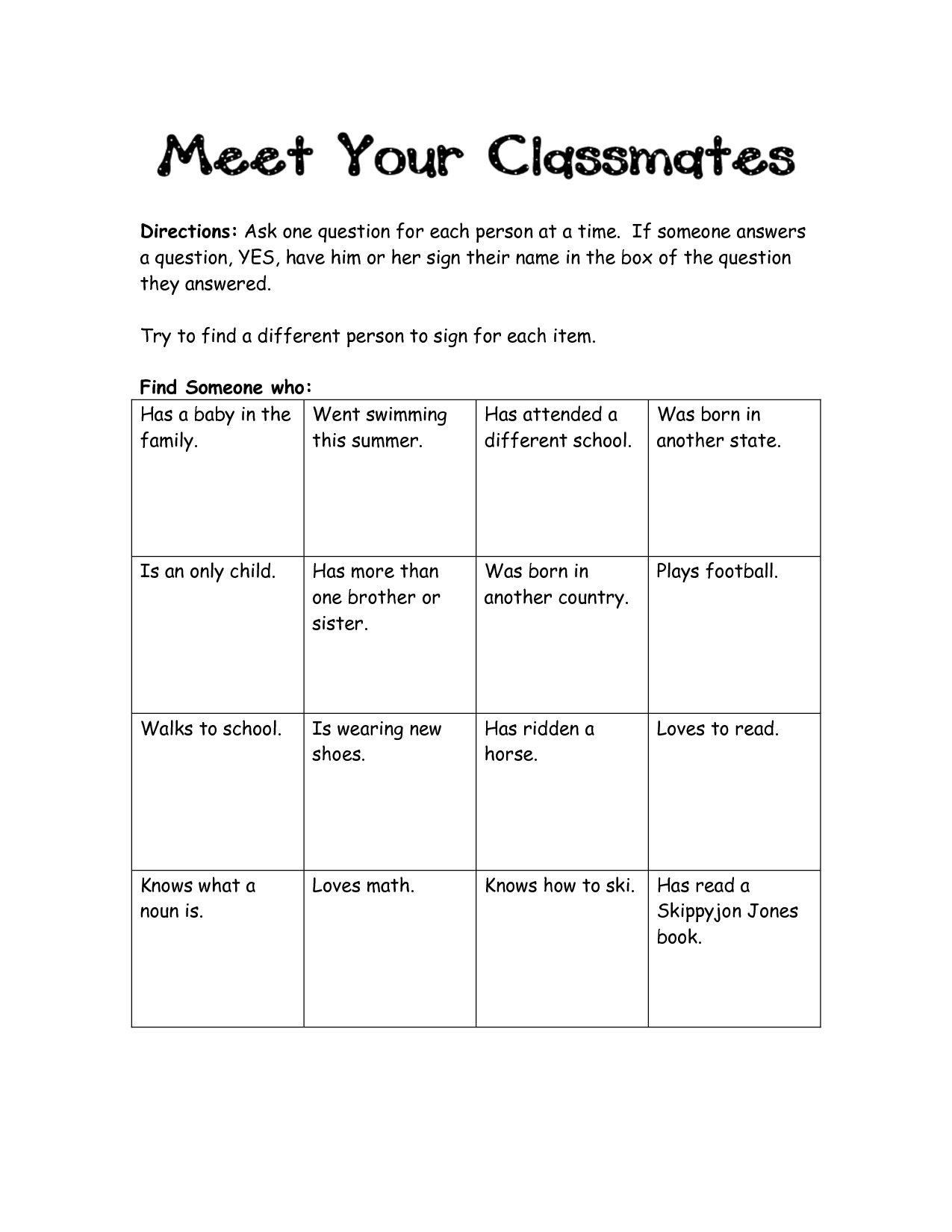 15 Best Images Of Find Who Worksheets Elementary Class