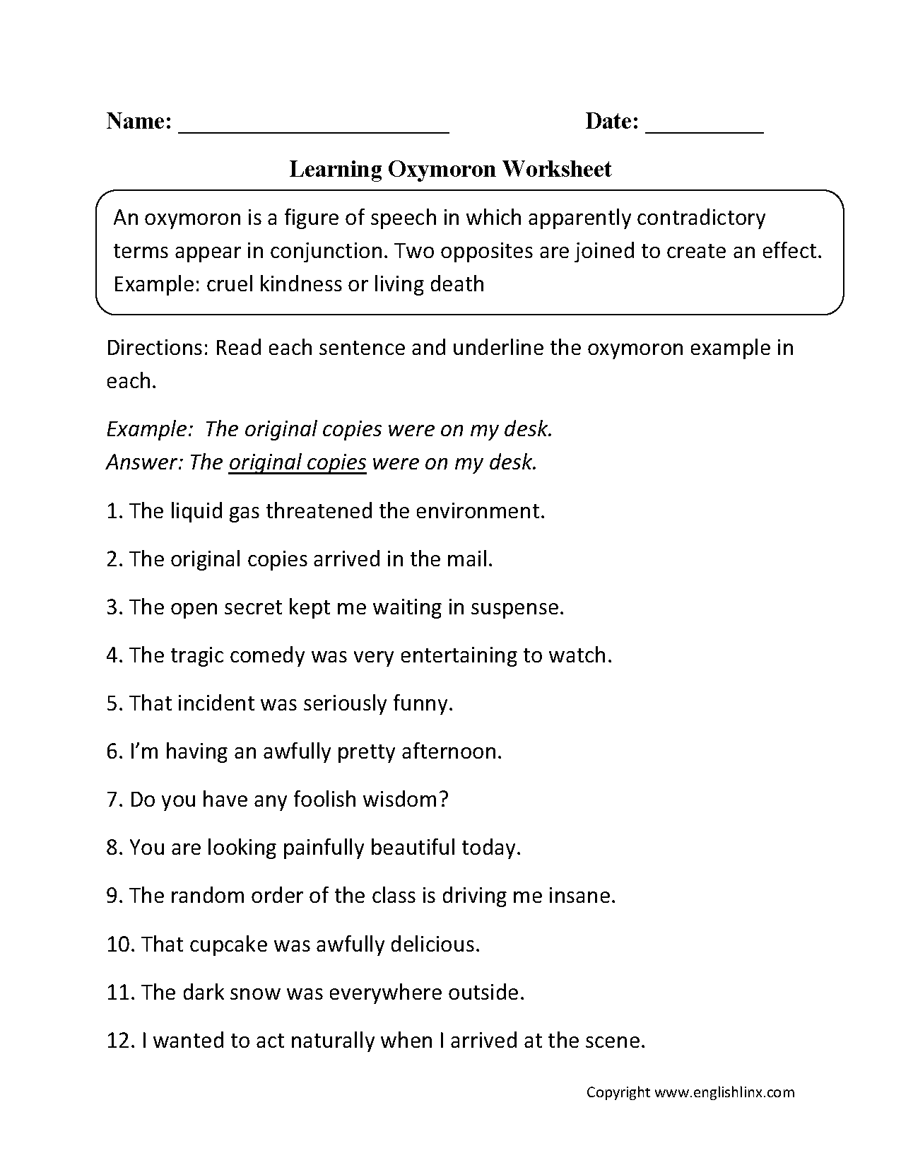 Imagery Worksheet For 5th Grade