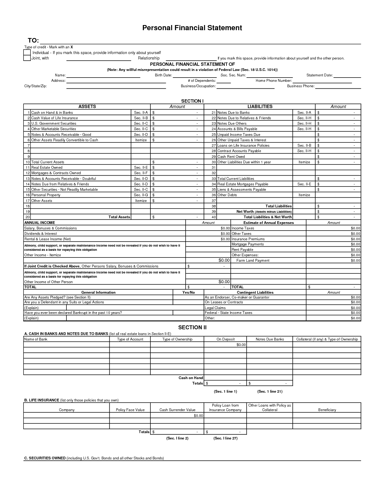Free Personal Financial Statement Forms Online