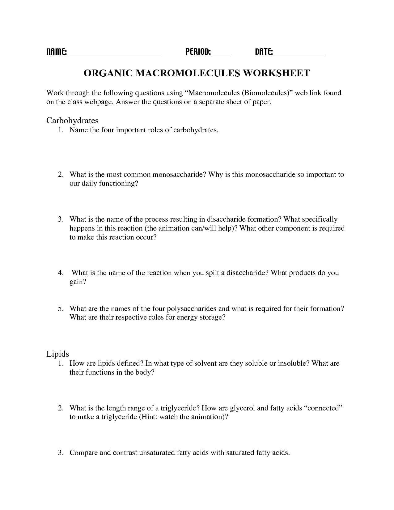 13 Best Images Of Carbohydrates Worksheet Answers