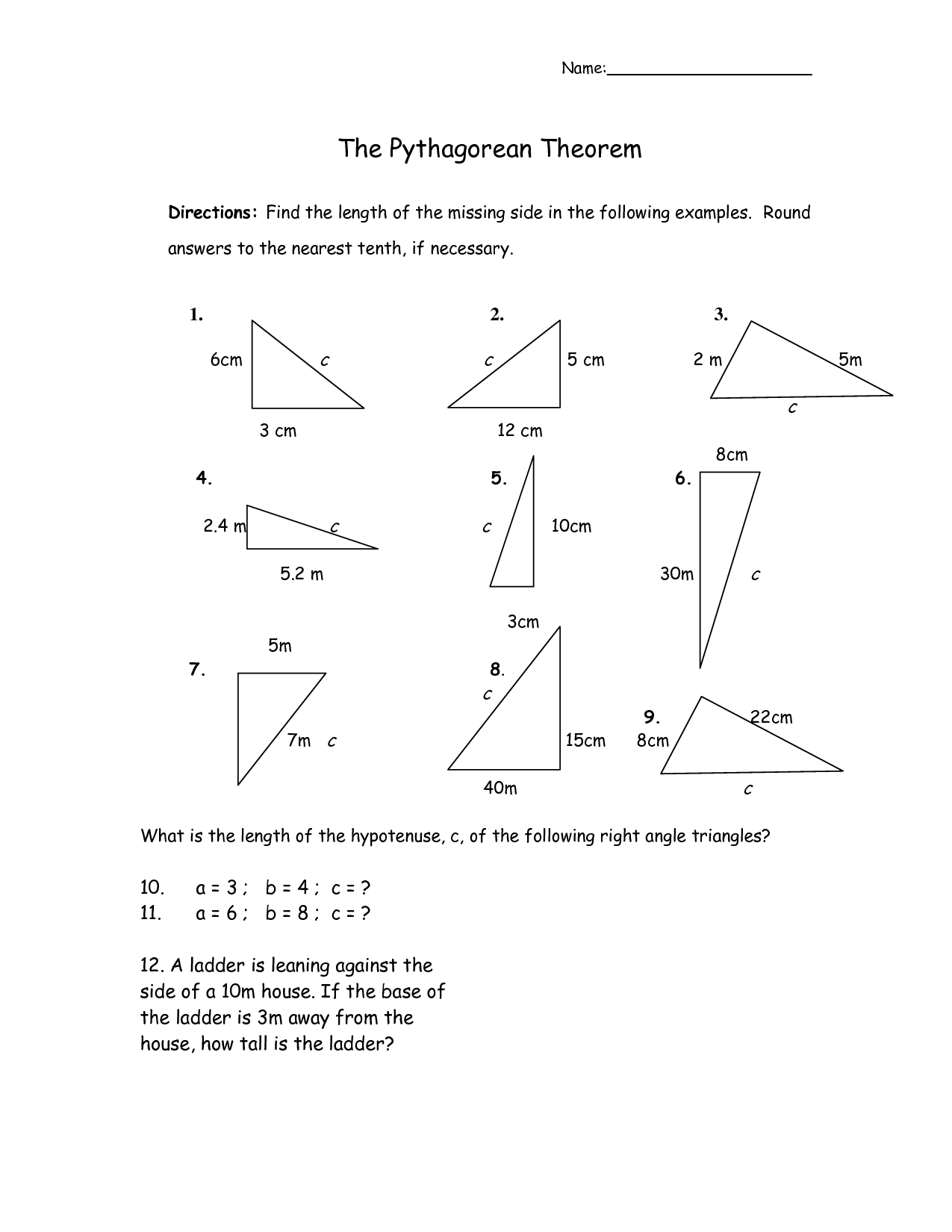 30 Pythagorean Theorem Fun Worksheet