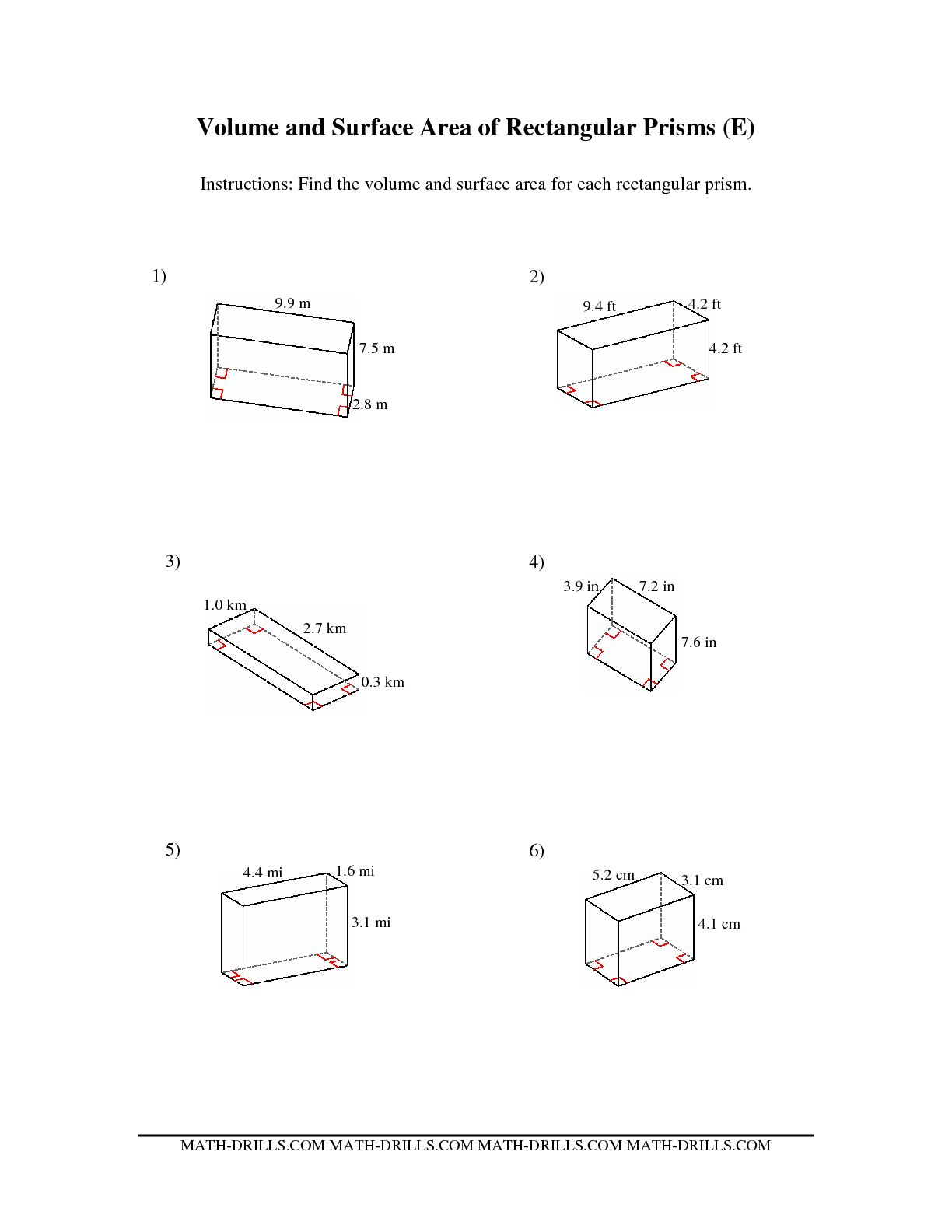 11 Best Images Of Area Of Rectangular Prism Worksheet