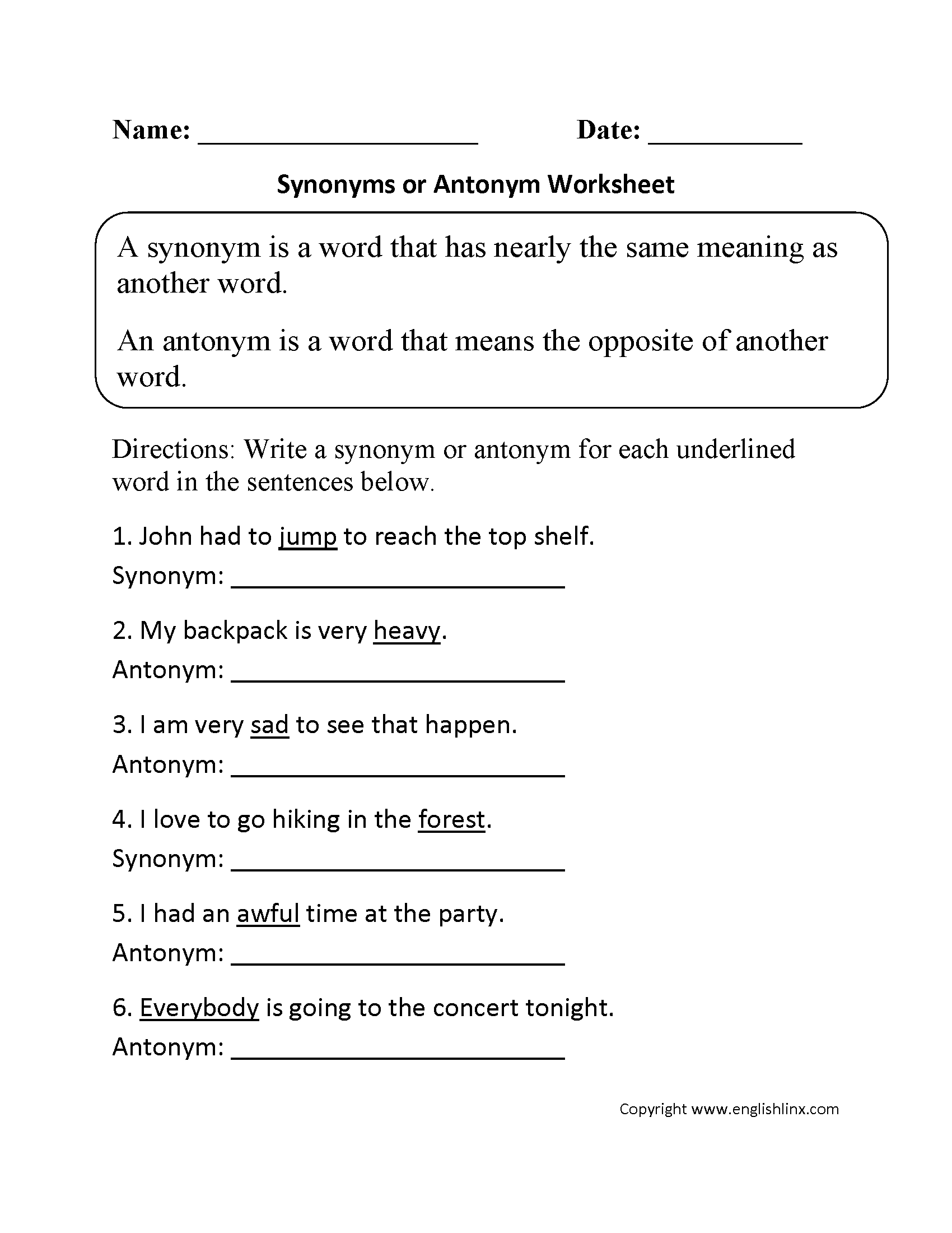 Worksheet Synonyms Grade 5