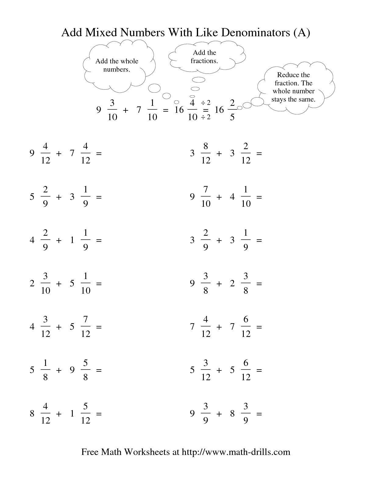 14 Best Images Of Mixed Fractions Worksheet Math