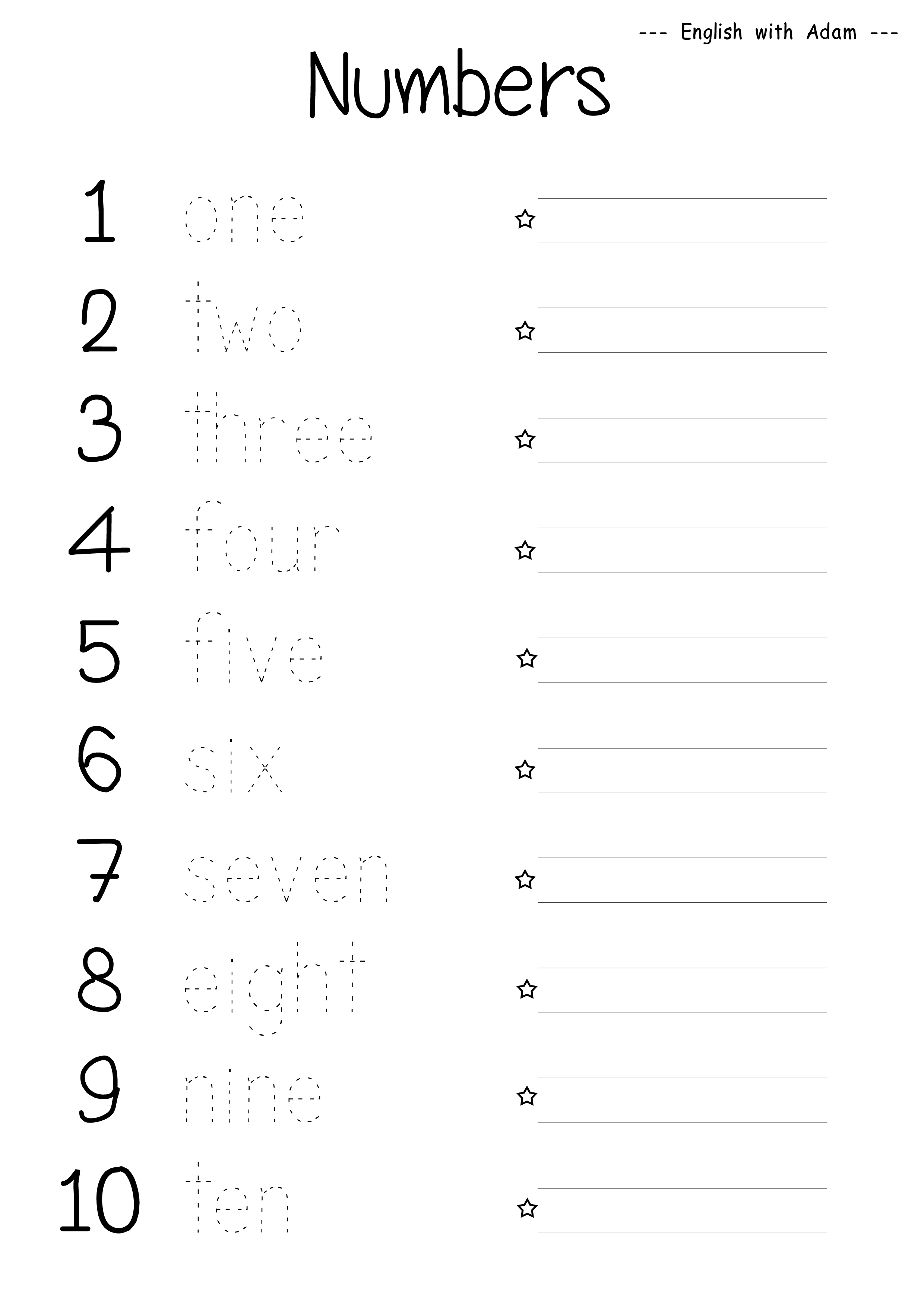 13 Best Images Of Esl Numbers Worksheets