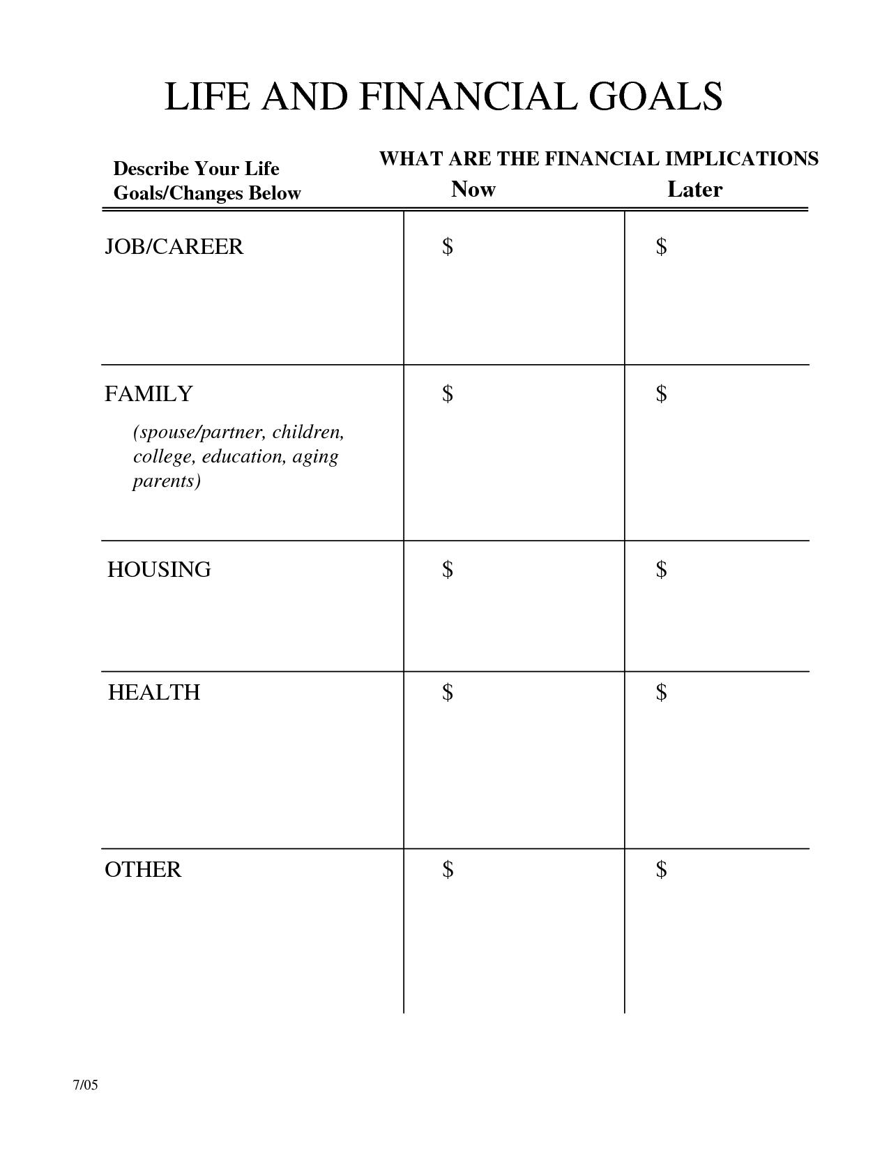 Life Goals Worksheet Adults