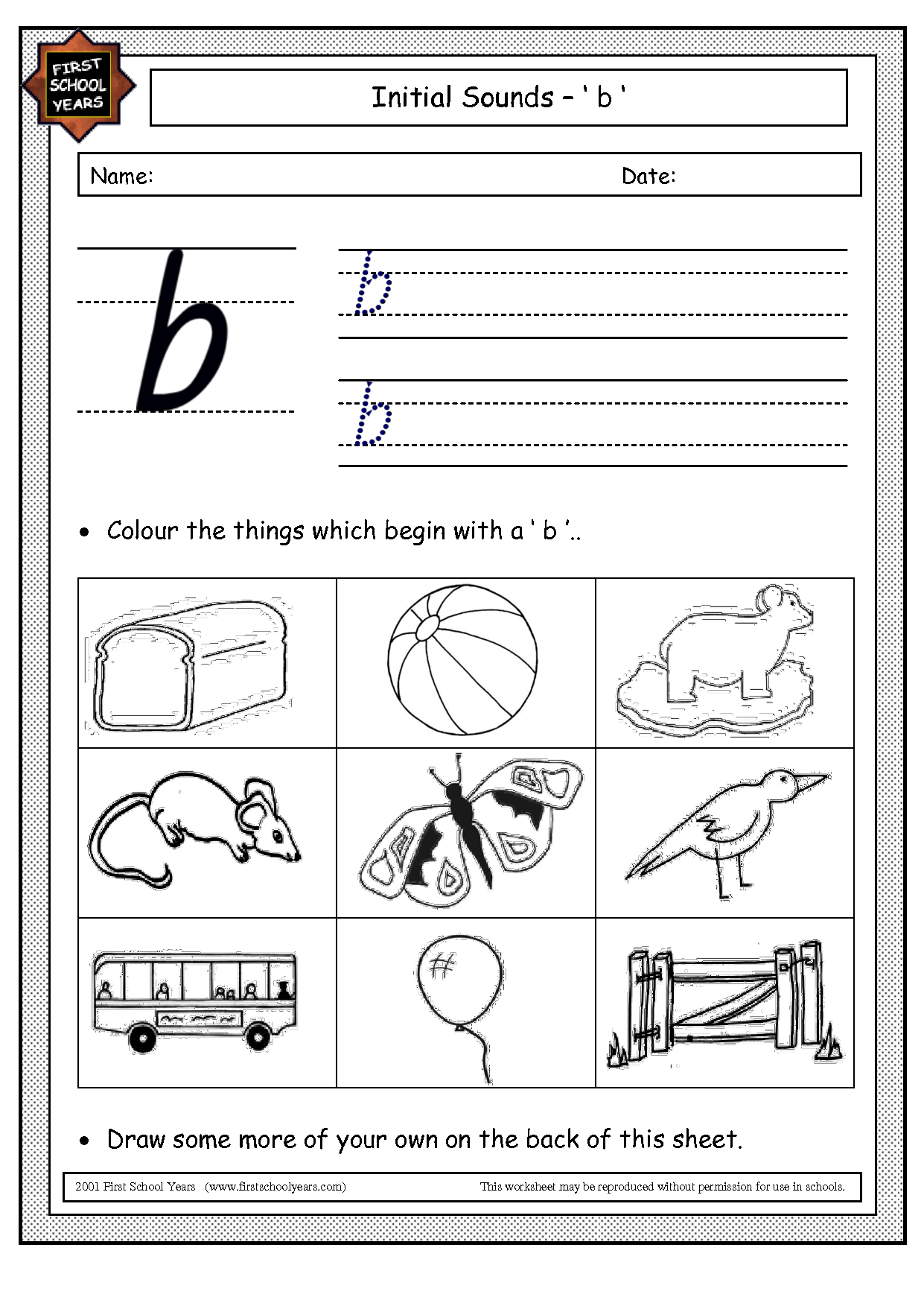 Final Sound Worksheet Letter B