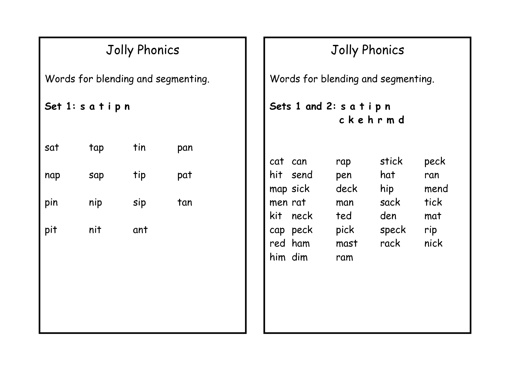 79 Jolly Phonics E Sound Words Free Download Doc Zip