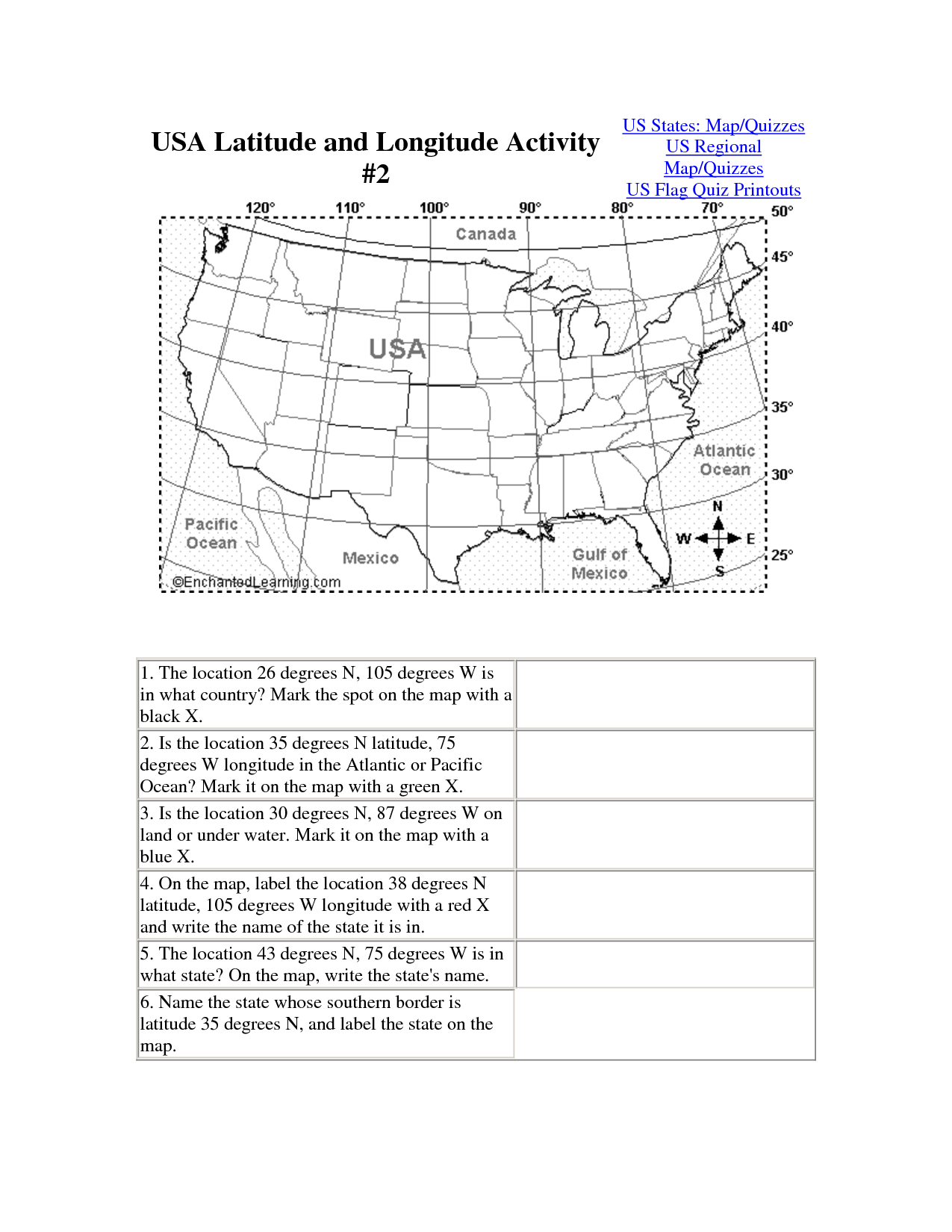 Printable Activities Worksheet Longitude And Lattitude Map