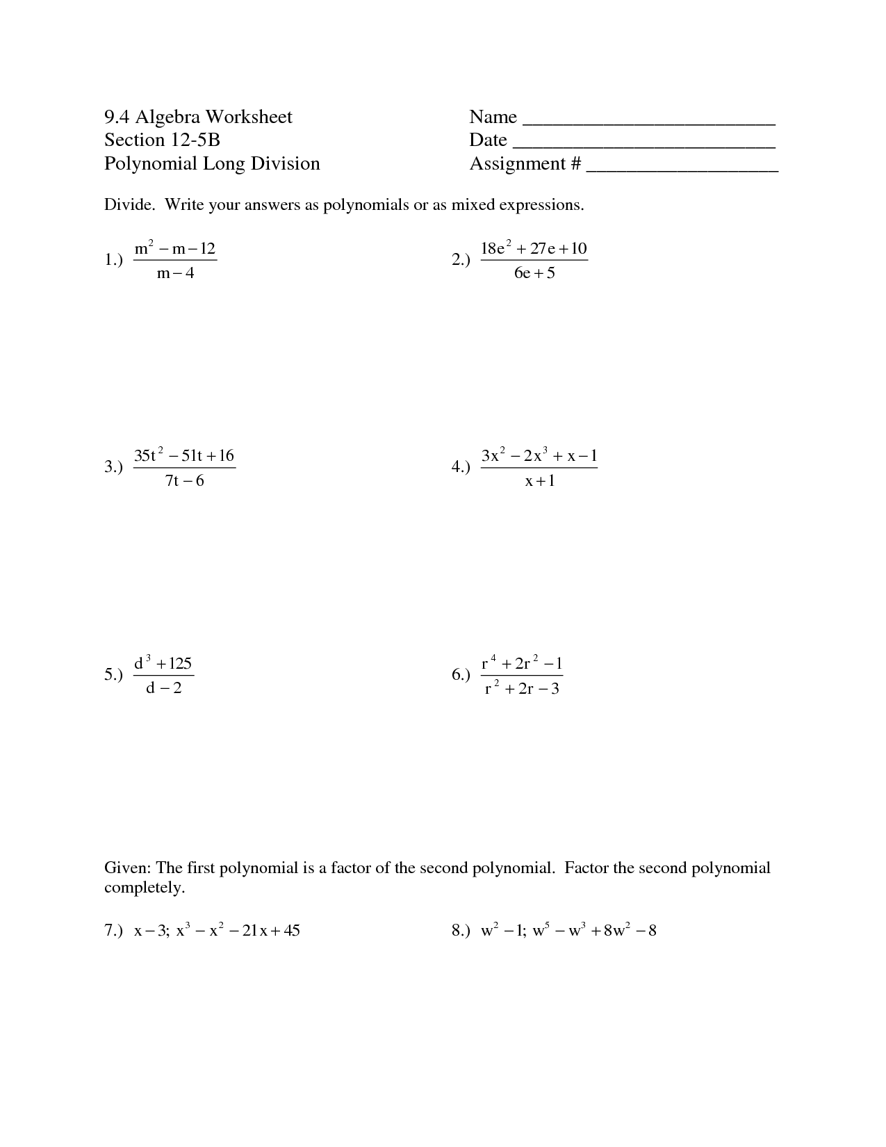 Simple Polynomial Worksheet