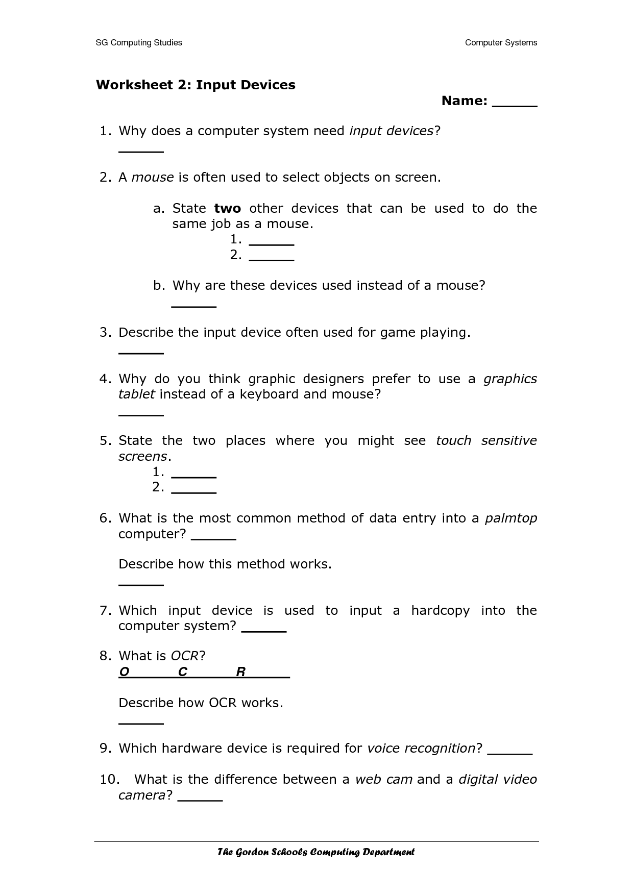18 Best Images Of Using The Computer Worksheet