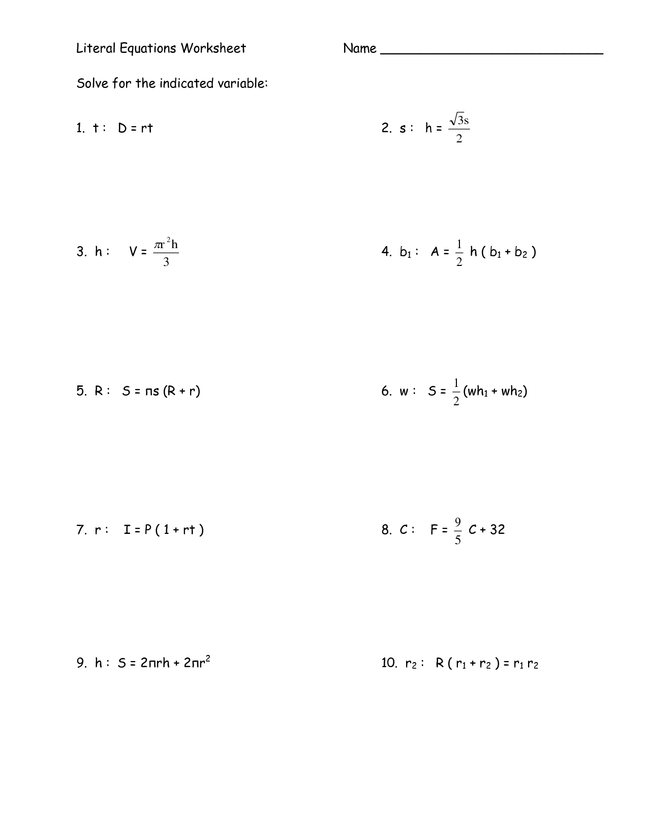 13 Best Images Of Literal Equations Worksheet Algebra 2