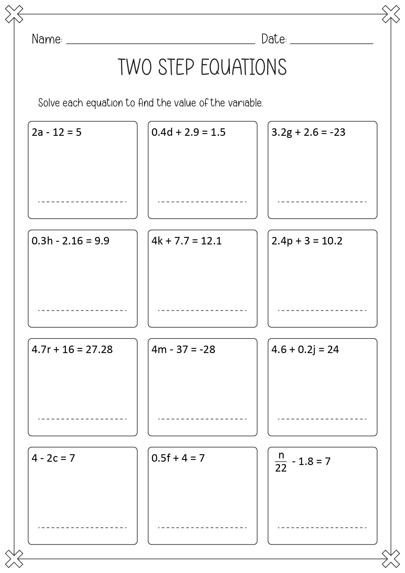 14 Best Images Of Two Step Equation Maze Worksheet