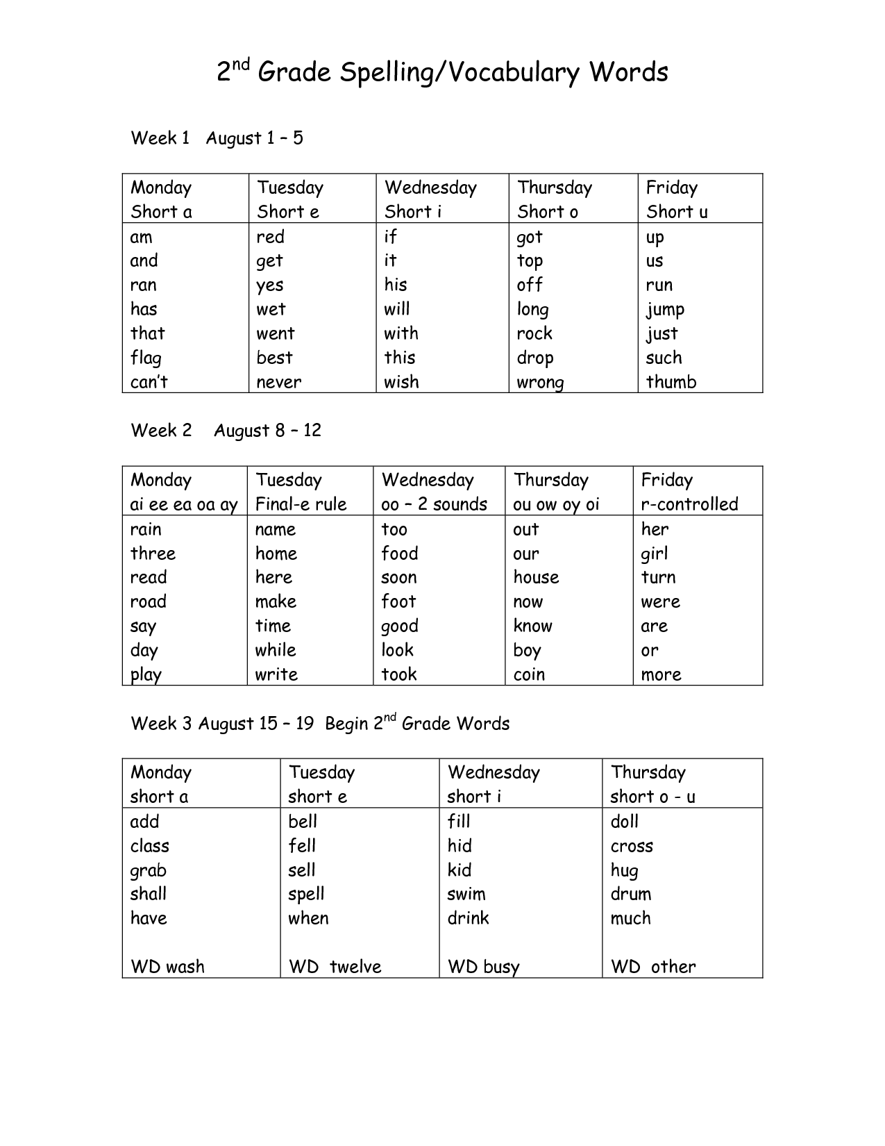 Free 2nd Grade Vocabulary Worksheet