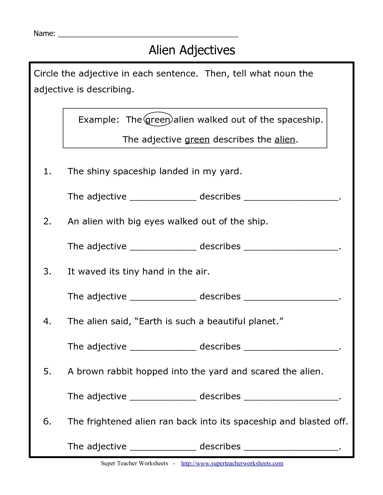 Adjectives Practice Worksheet