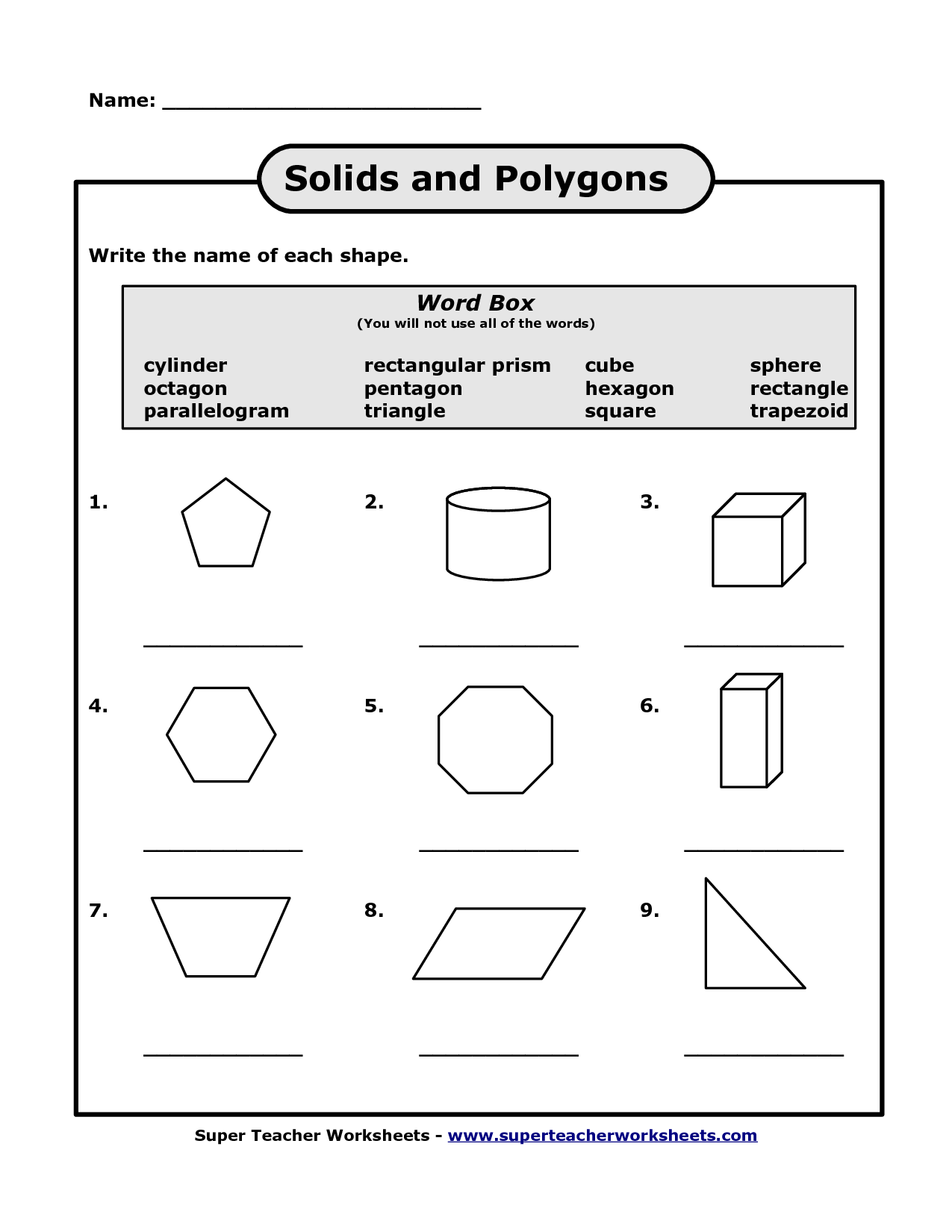 7 Best Images Of Solid Shapes Worksheets