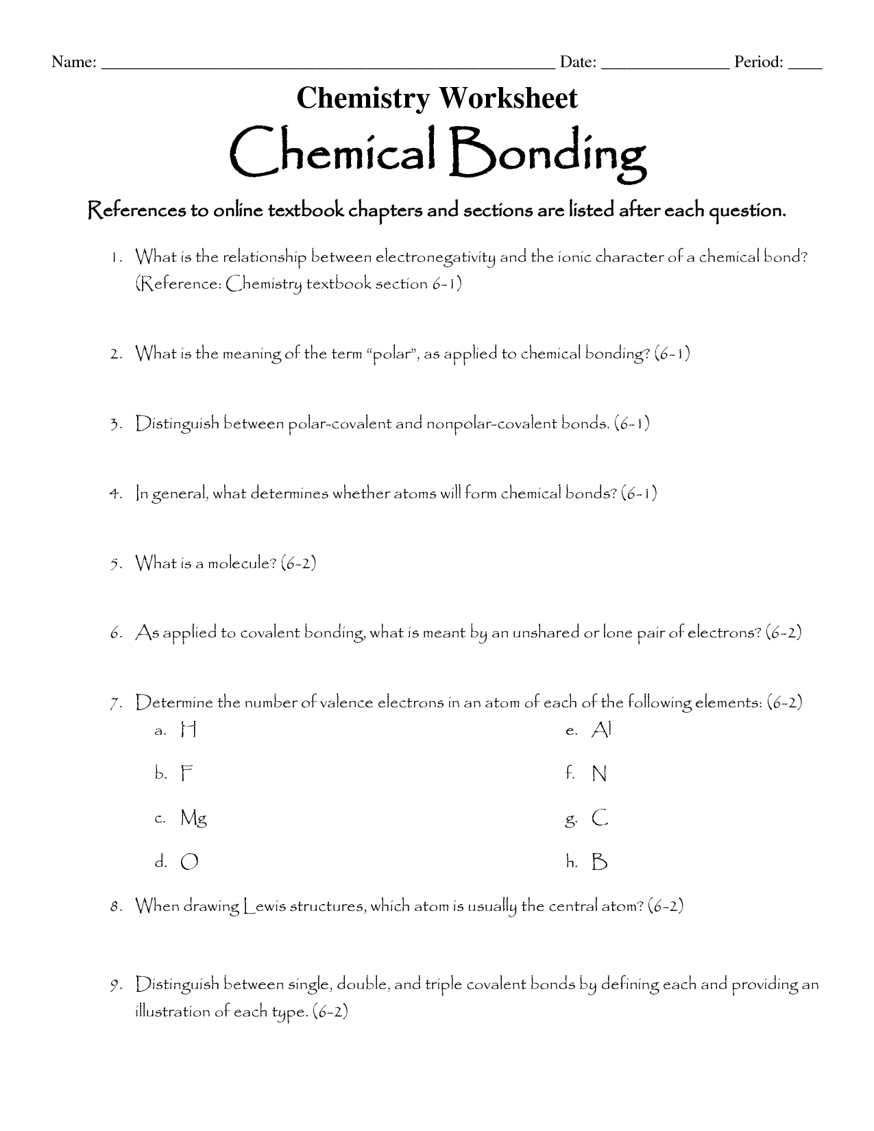 Worksheet Chemical Bonding Ionic And Covalent Key
