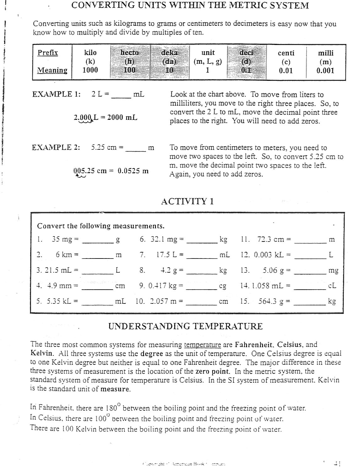 29 Metric System Review Worksheet