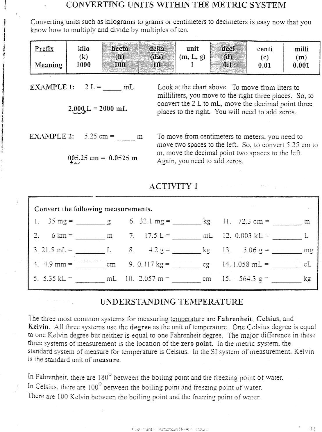 Metric English Conversion Worksheet