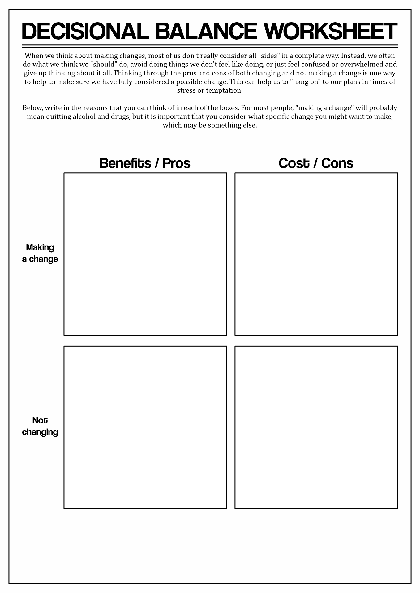 Stages Of Change Decisional Worksheet