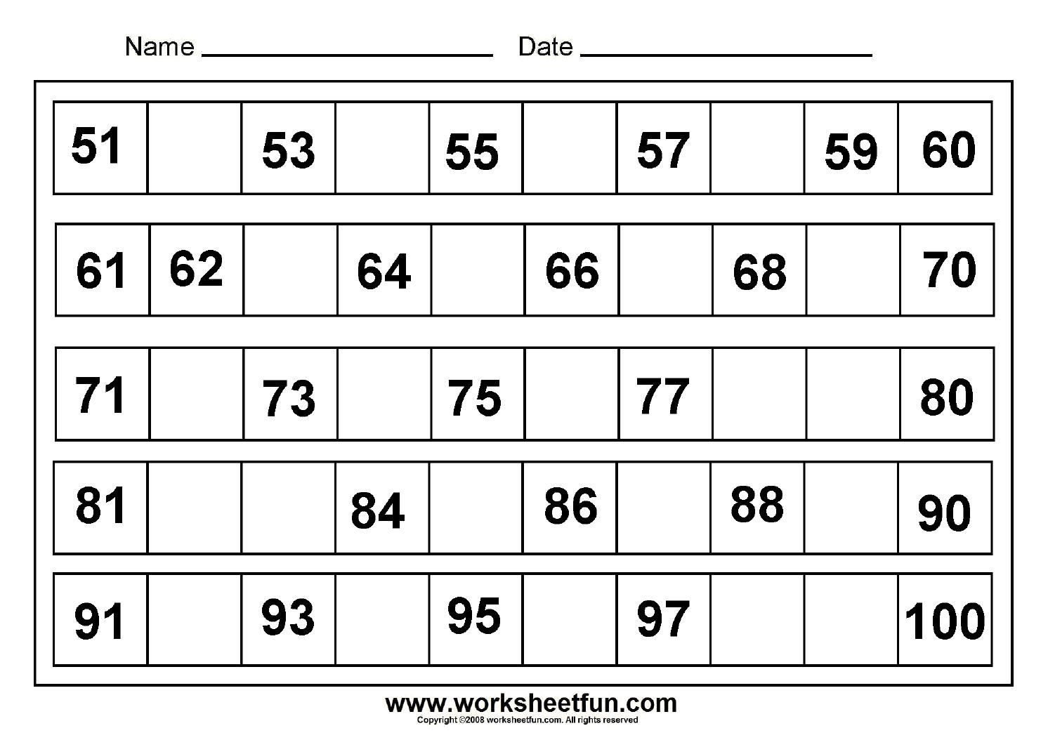 13 Best Images Of Printable Missing Numbers Worksheets 1