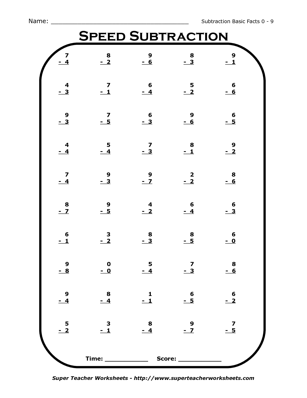 14 Best Images Of 1st Grade Mad Minutes Subtraction