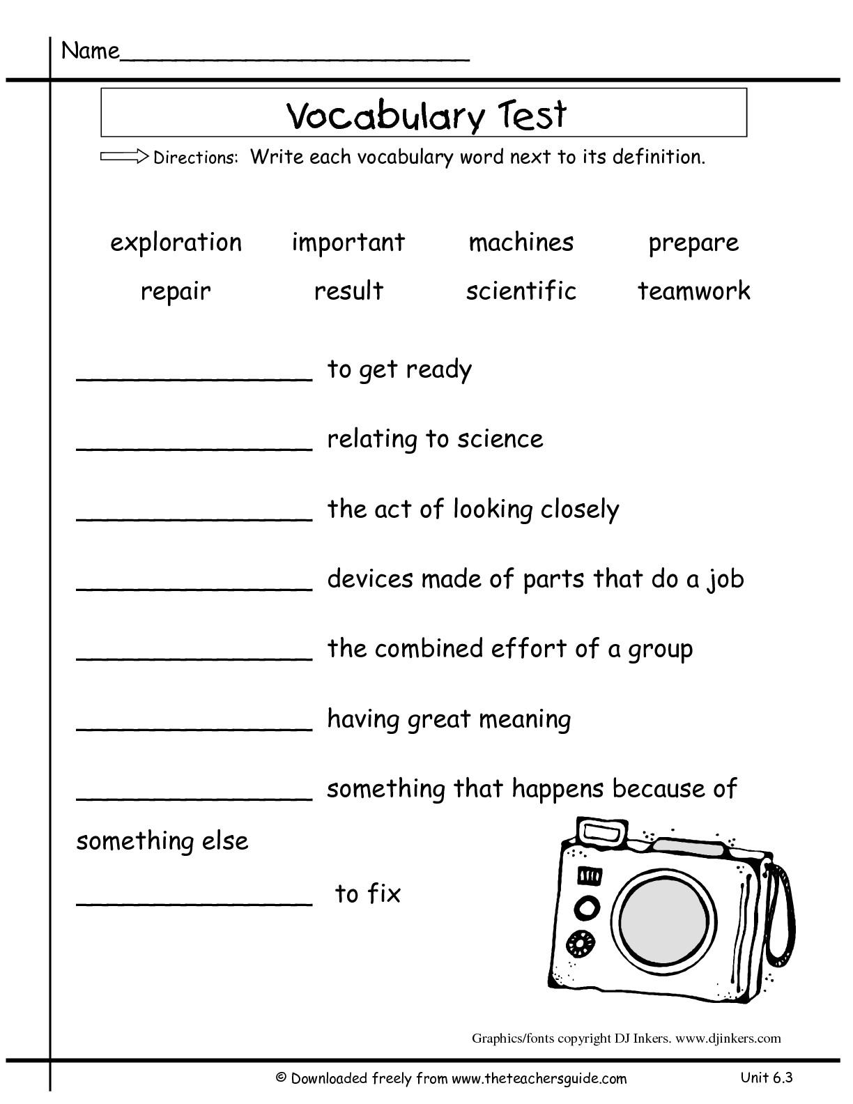2nd Grade Vocabulary Test Worksheets
