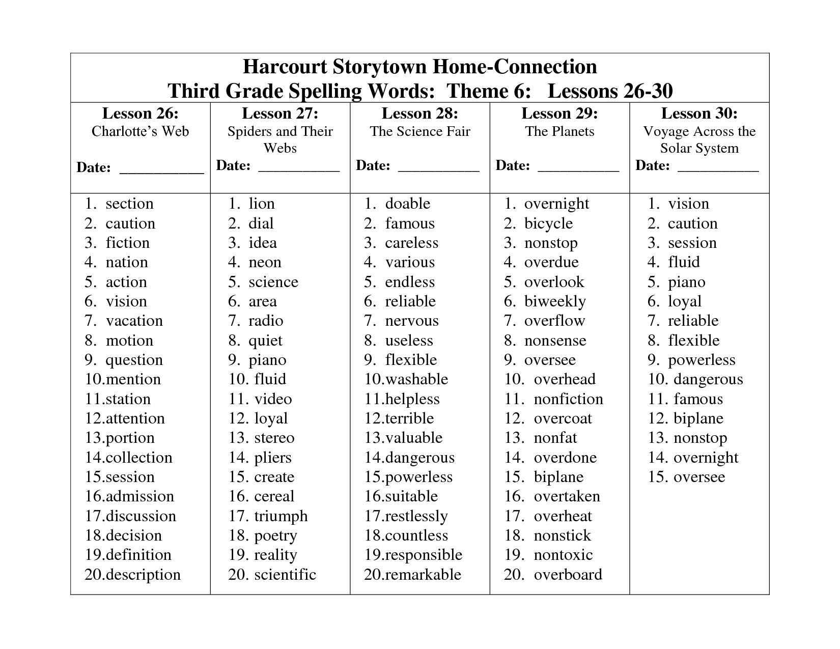 18 Best Images Of 3rd Grade Spelling Words Worksheets