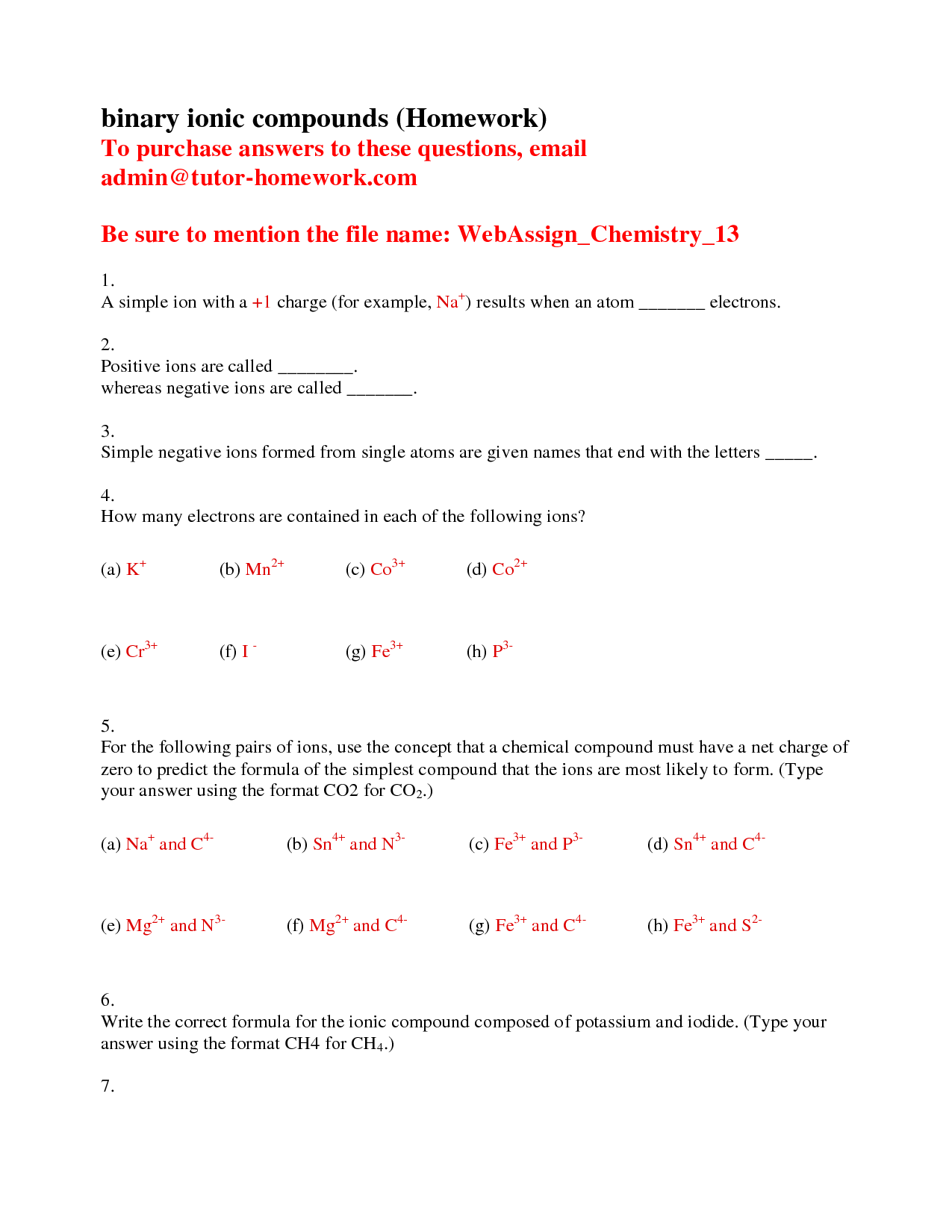 9 Best Images Of Binary Ionic Compounds Worksheet 1