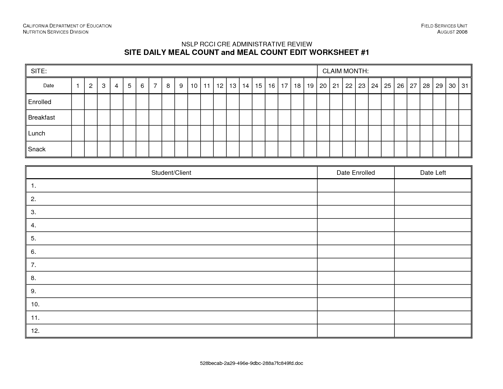 17 Best Images Of Menu Production Worksheet