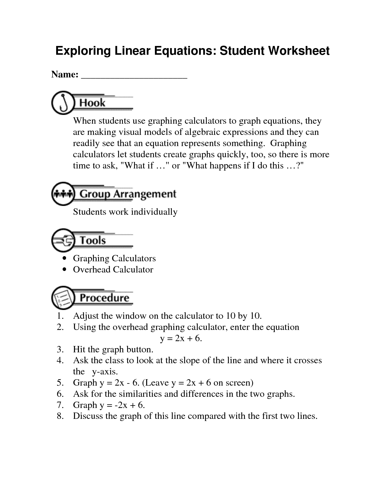13 Best Images Of Graphing Linear Functions Worksheets