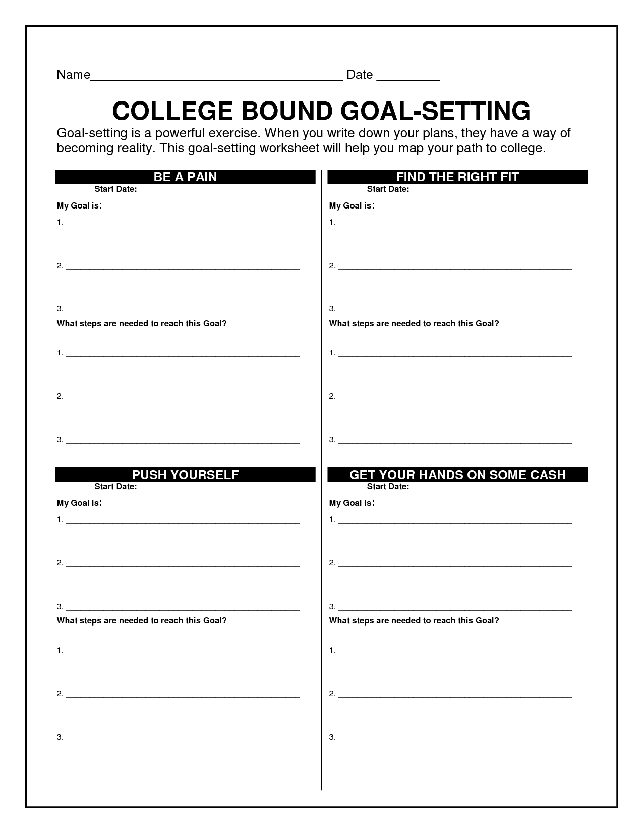 14 Best Images Of Career Goal Planning Worksheet