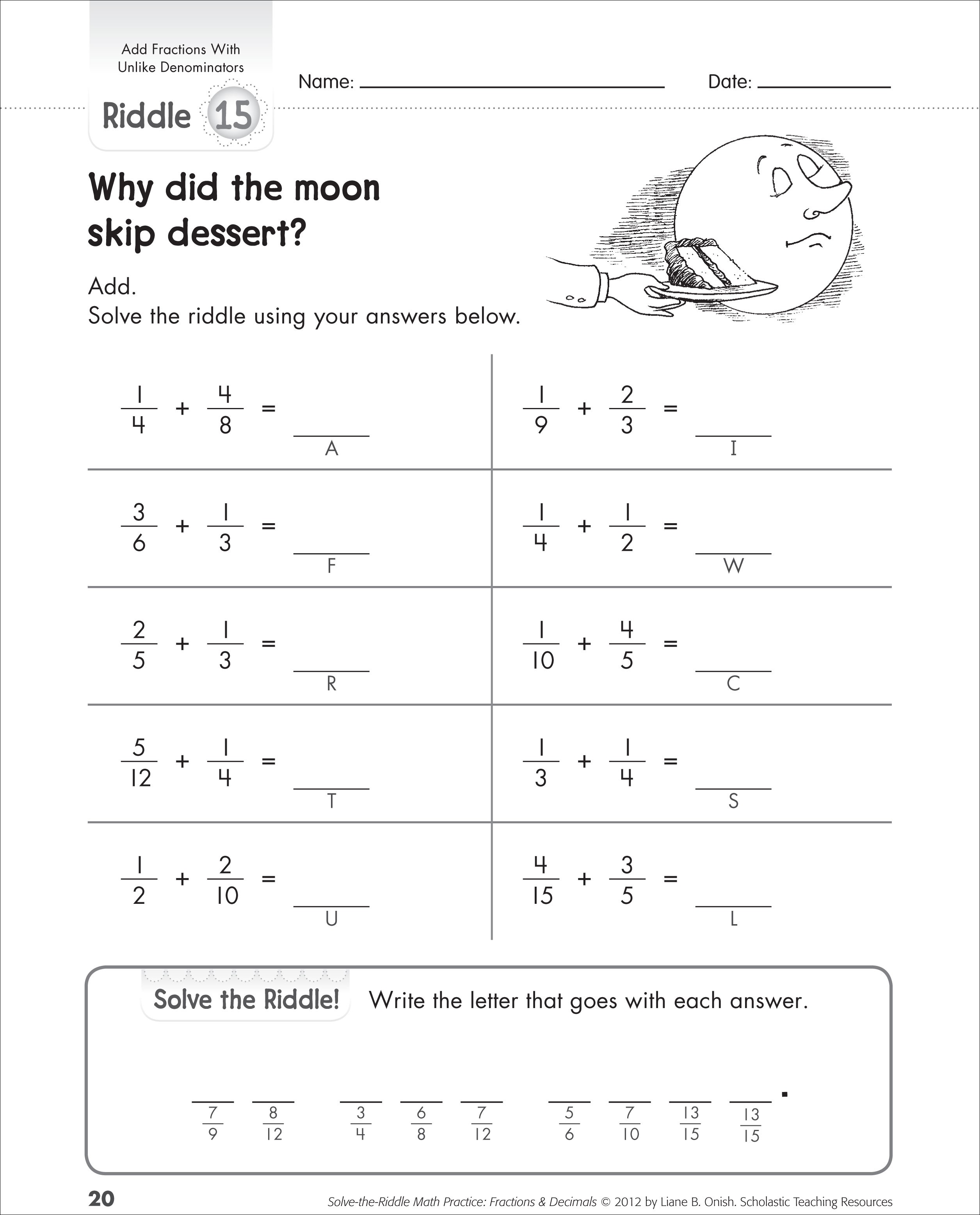 Unlike Denominator Fraction Worksheet For Grade 5