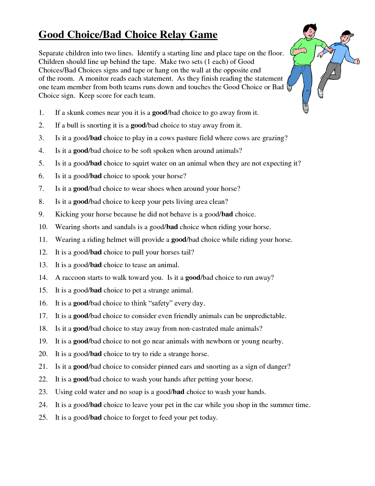 11 Best Images Of Good And Bad Choices Worksheet