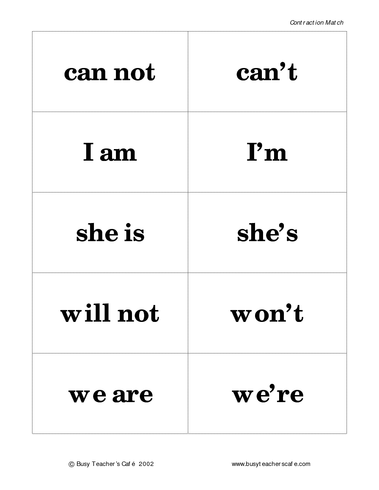 3rd Grade Contractions Worksheet