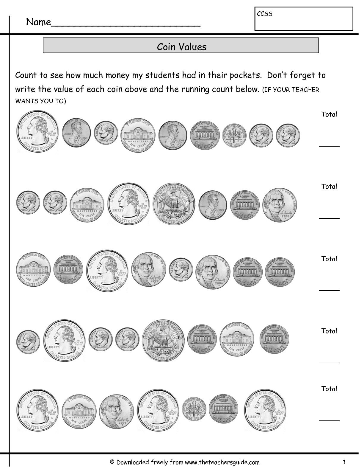 18 Best Images Of Coin Identification Worksheets Kindergarten