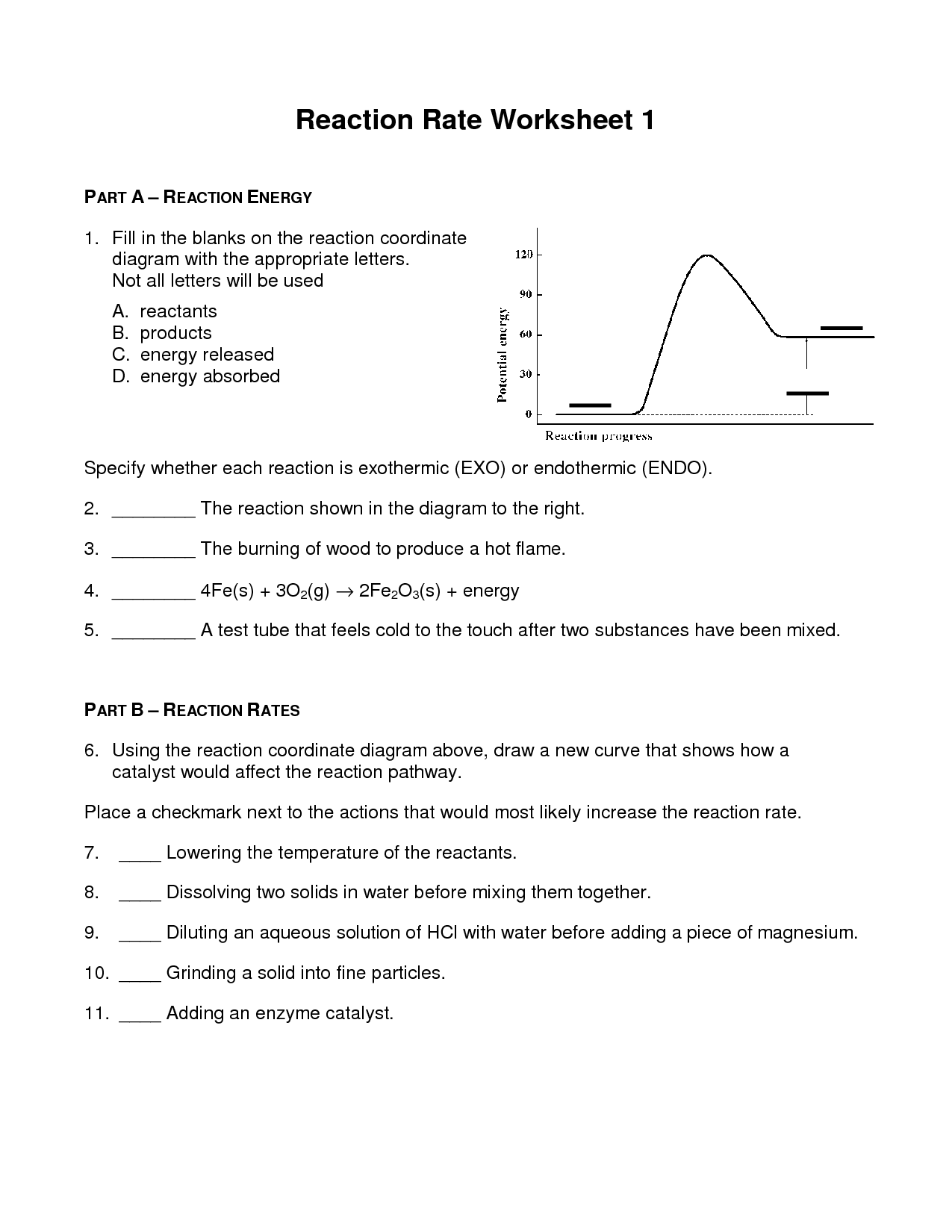 34 Rates Of Reaction Worksheet