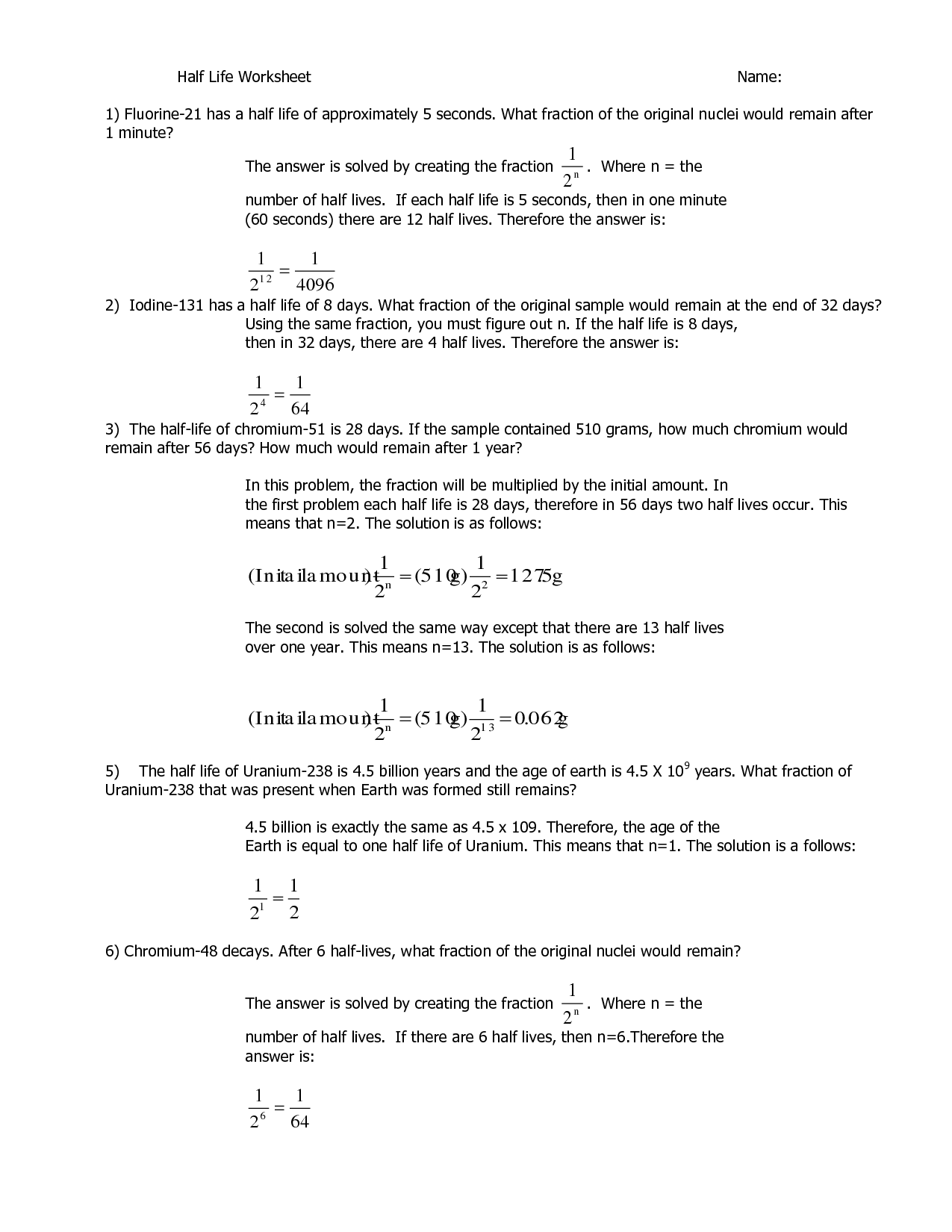 Half Life Worksheet Chapter 25 Nuclear Changes Answers ...