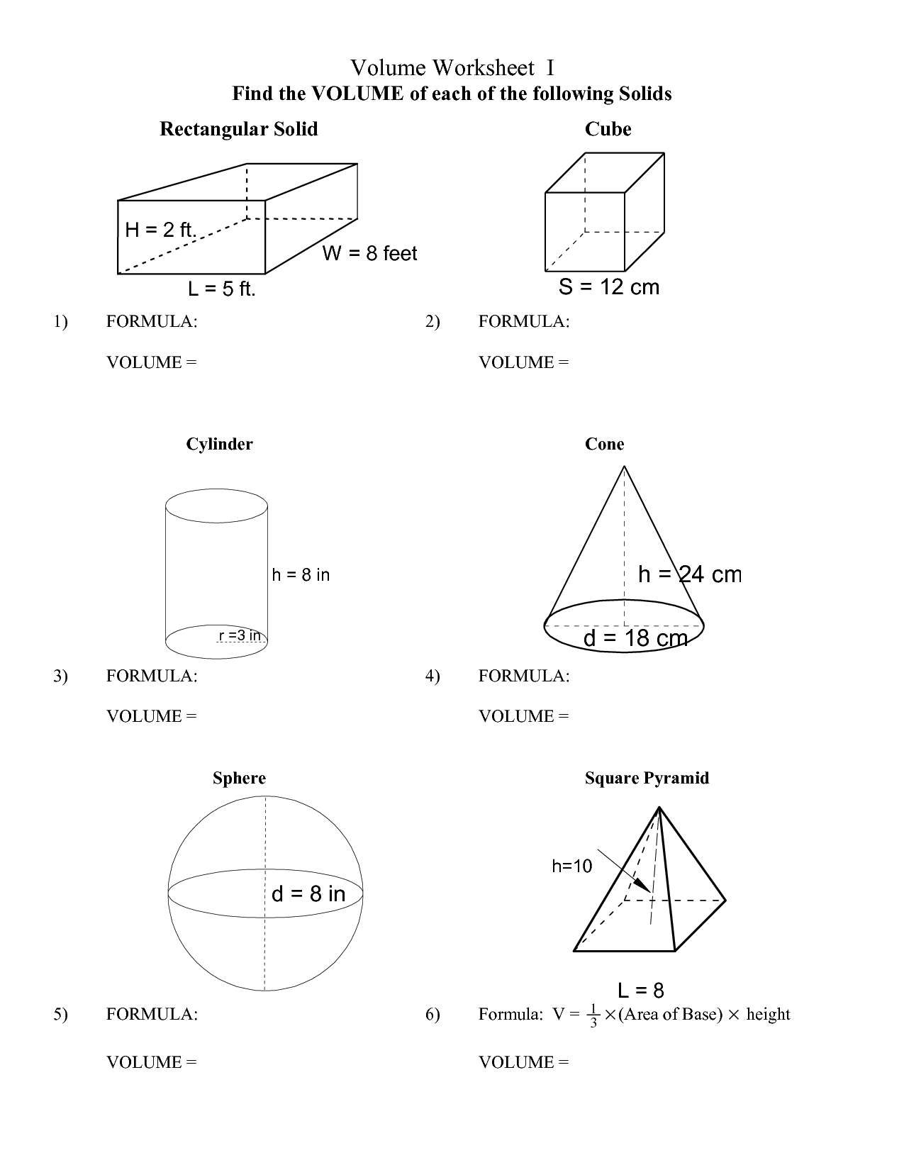 Volume In Cubic Units Worksheet