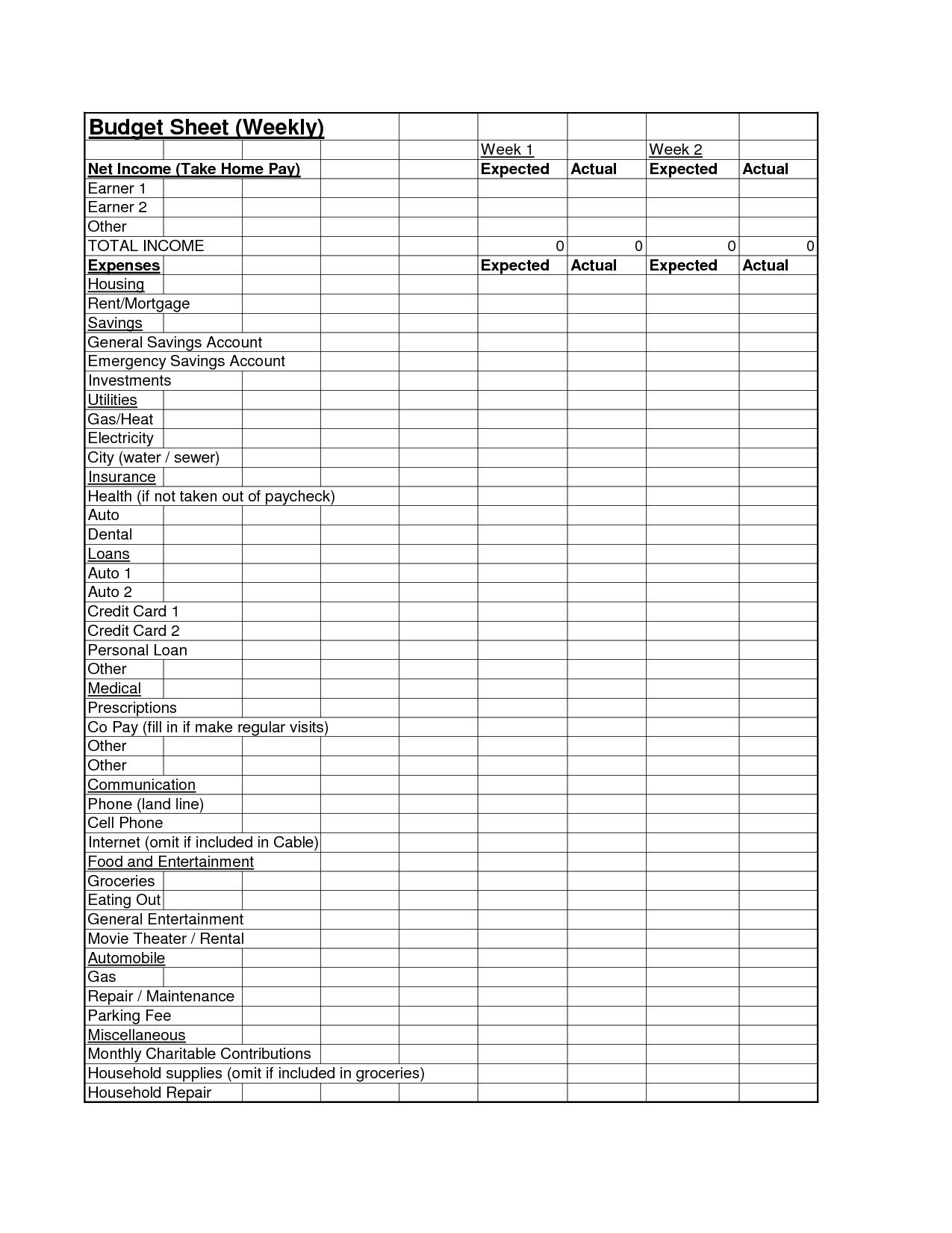 14 Best Images Of Budget Planner Worksheet
