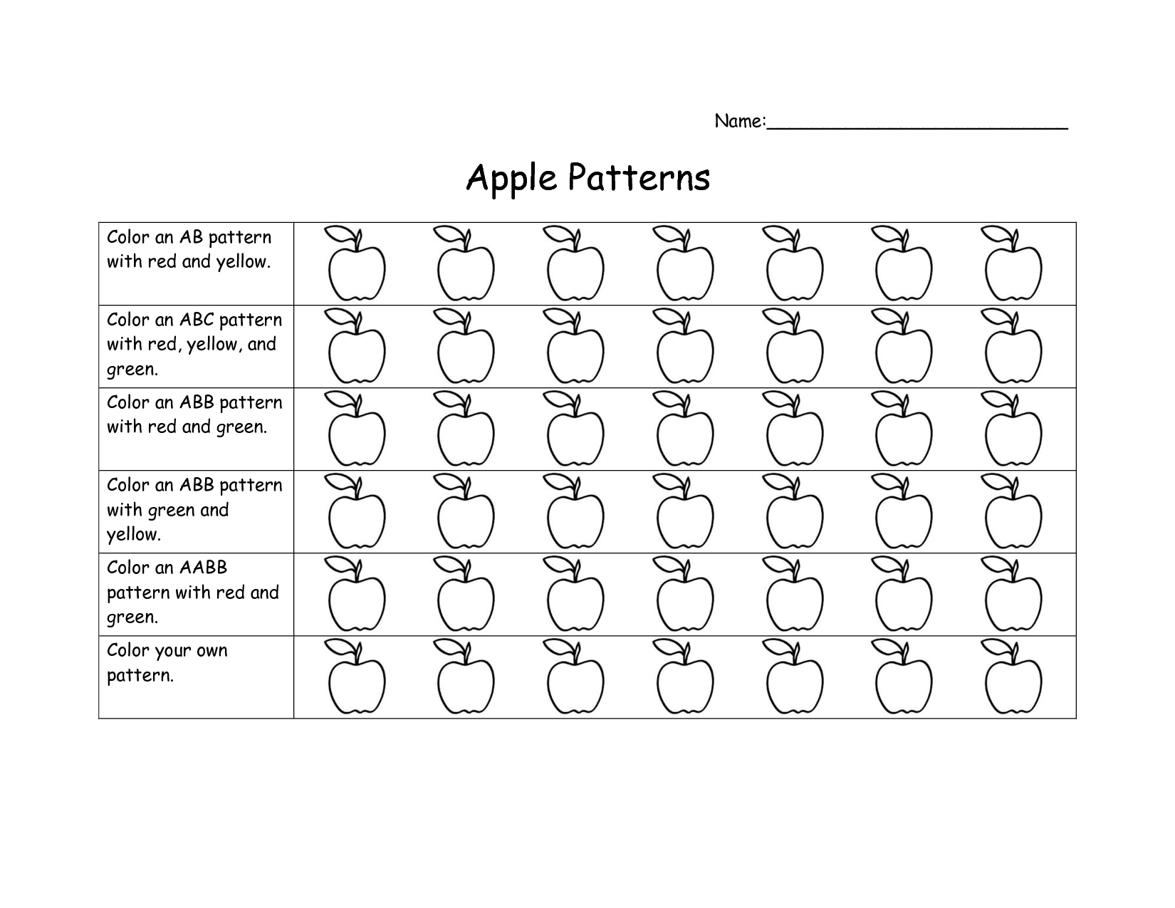 Worksheet For Patterns