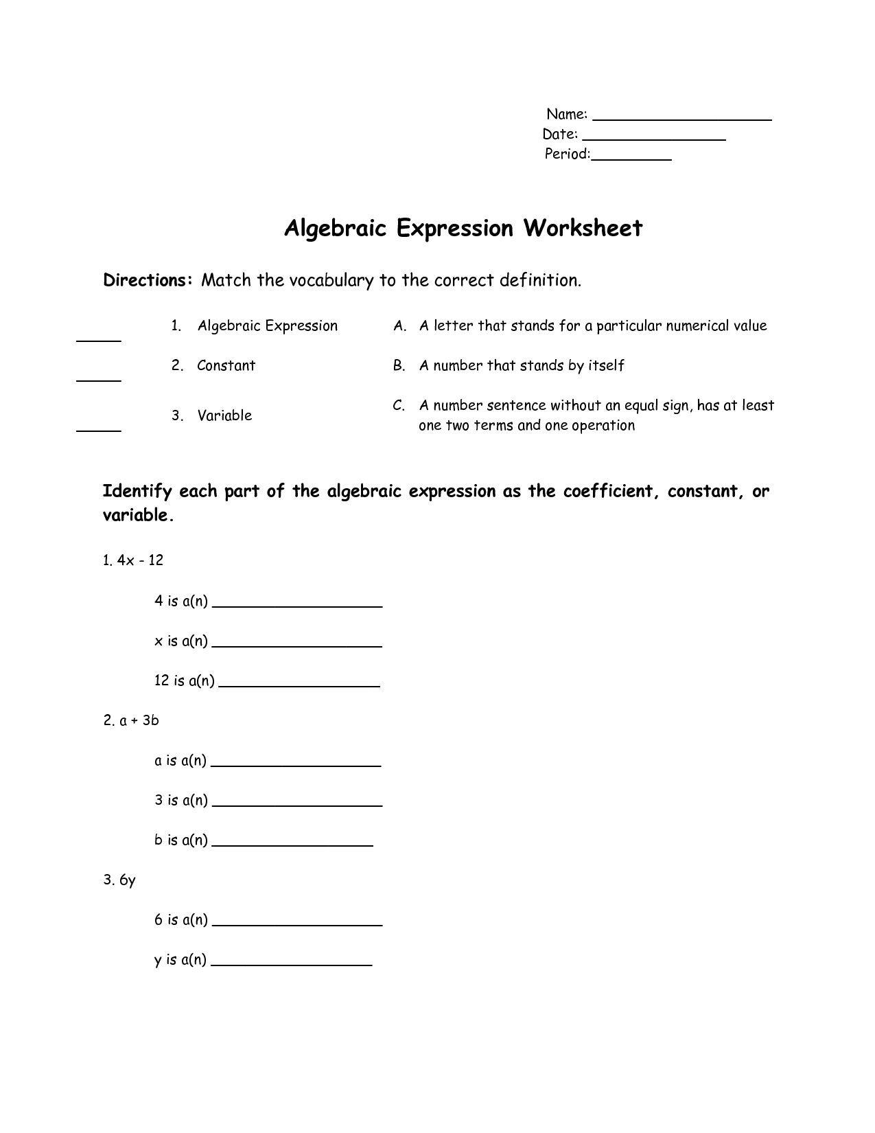 Algebraic Expression In Words