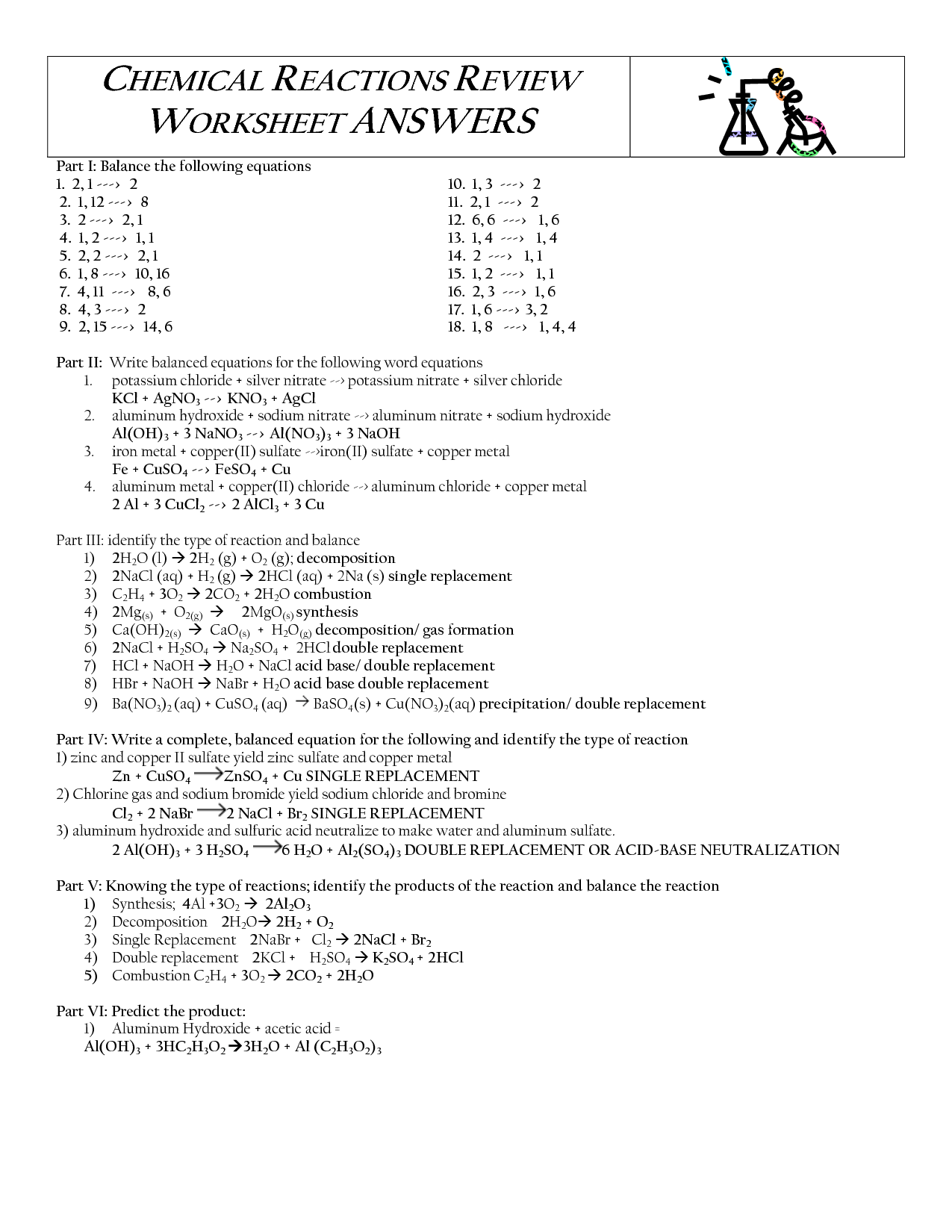 12 Best Images Of Physical And Chemical Reactions Worksheet
