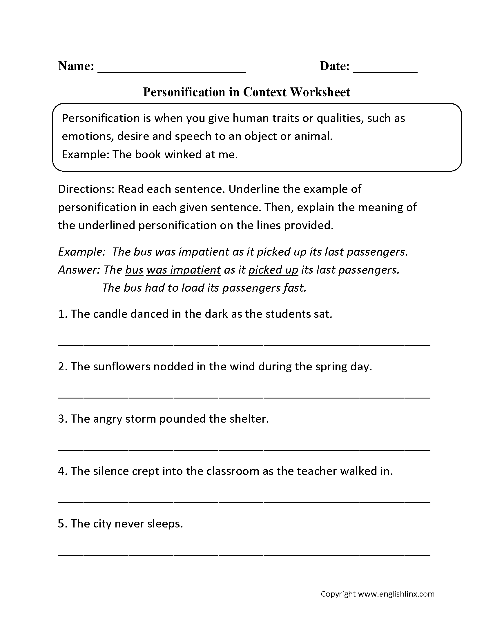 8 Best Images Of Simile Metaphor Personification Worksheet