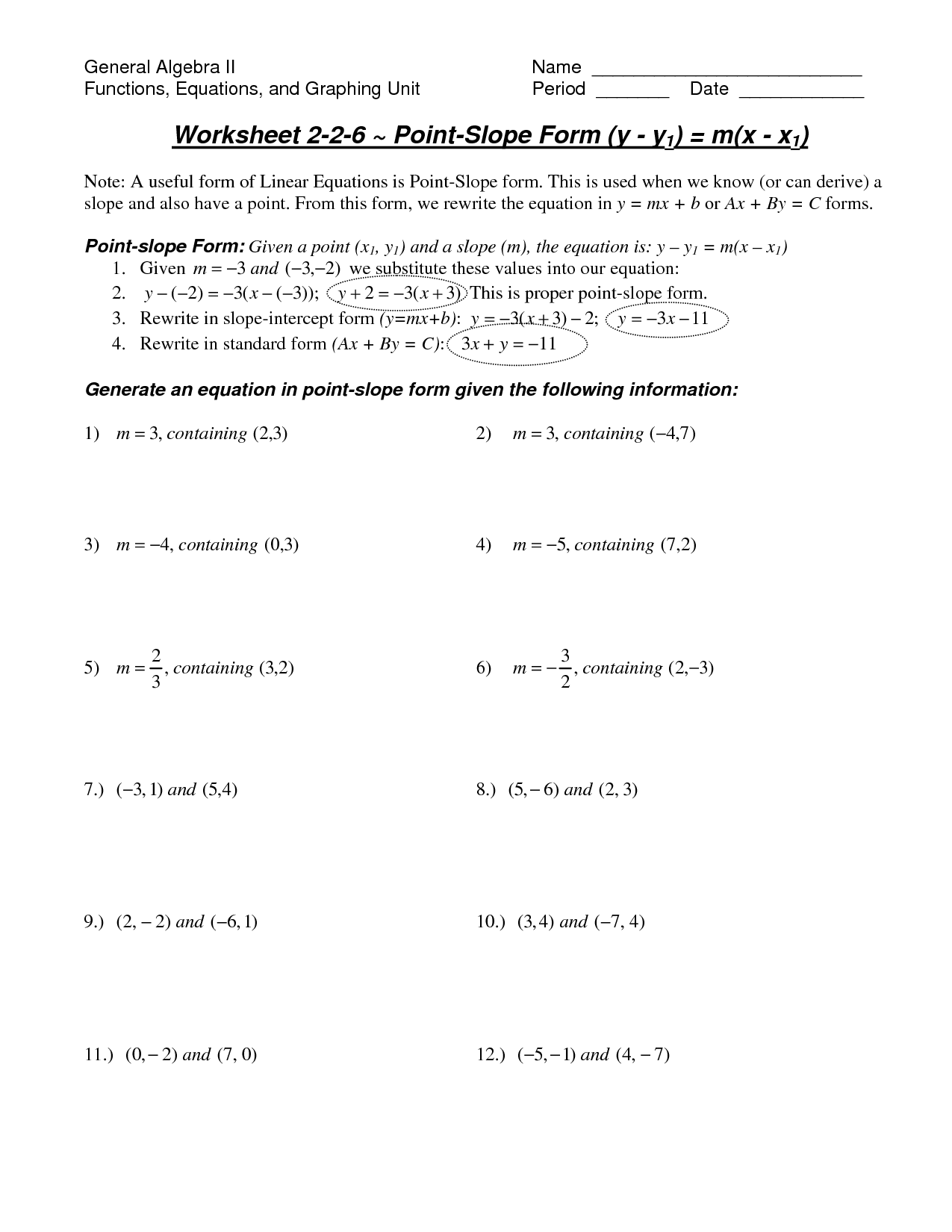 15 Best Images Of Point Intercept Form Worksheet