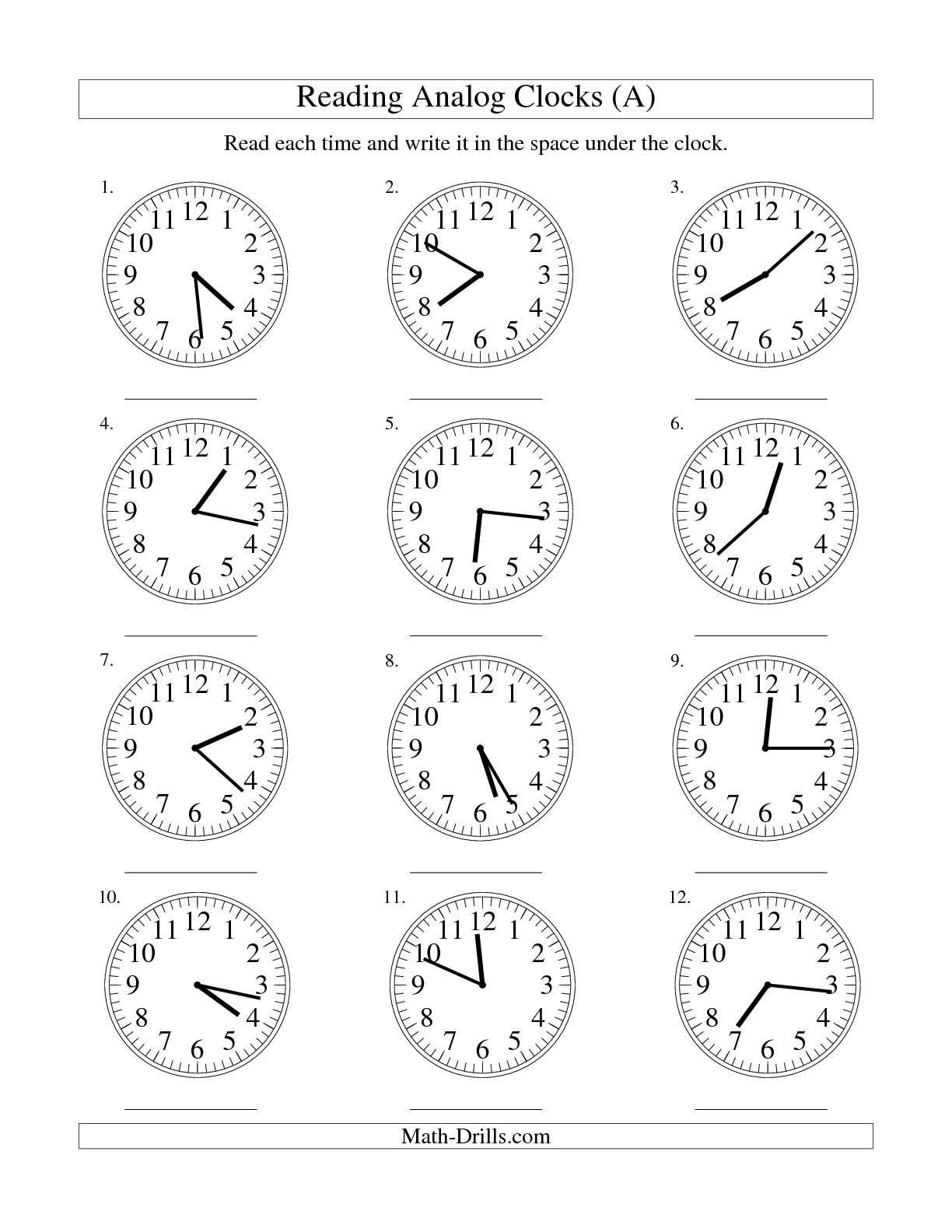 18 Best Images Of Clock Practice Worksheets
