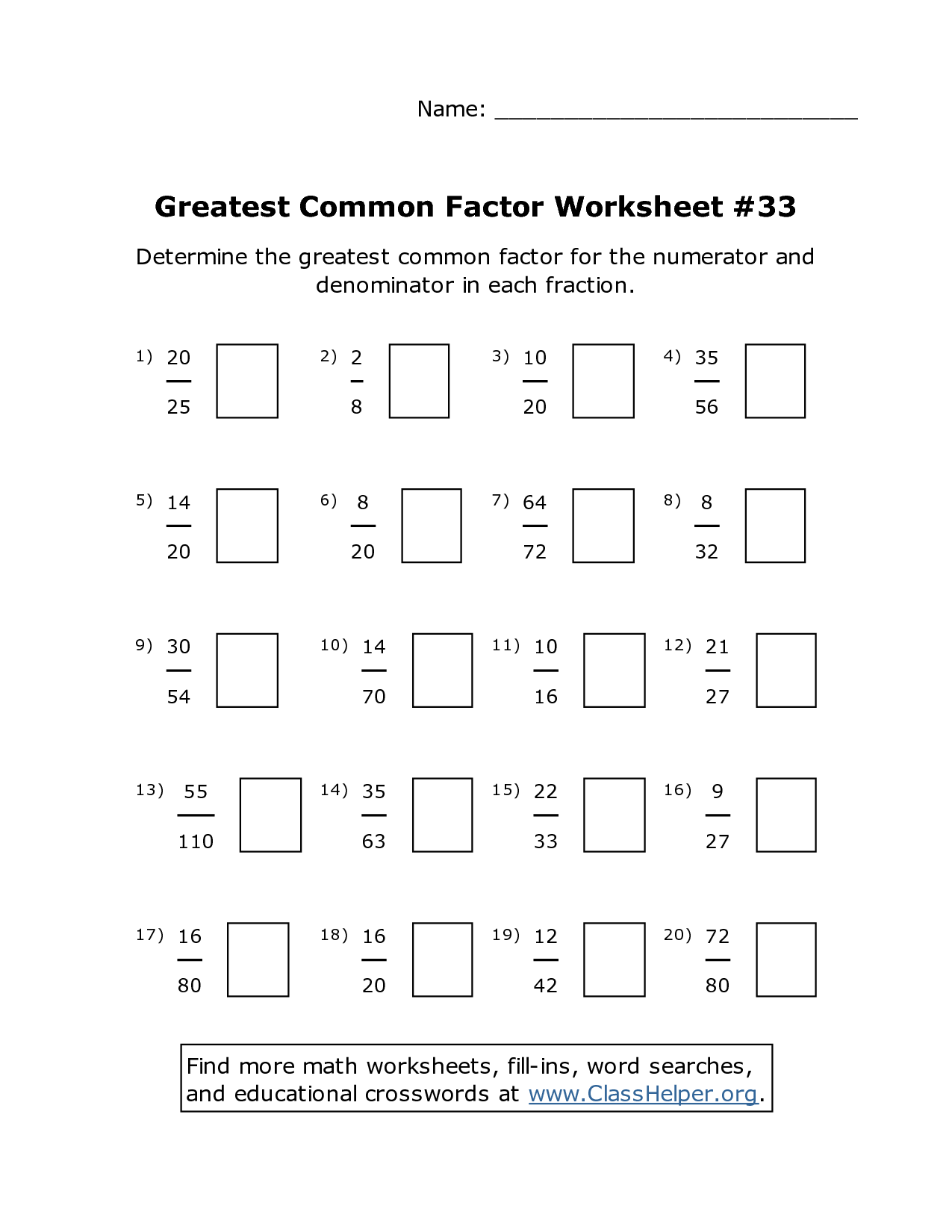 13 Best Images Of Greatest Common Factor Worksheet Answers