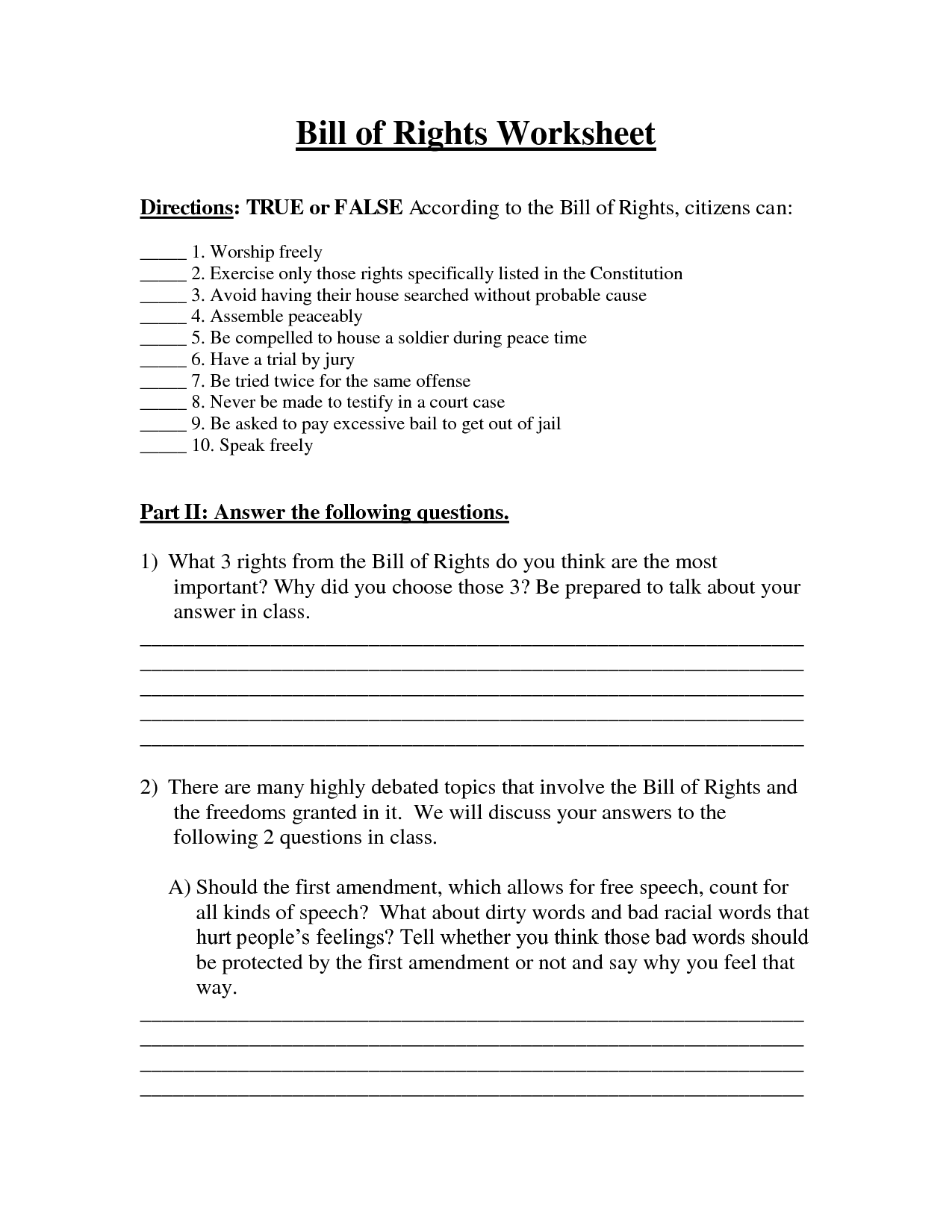 12 Best Images Of Bill Of Rights Worksheet Icivics