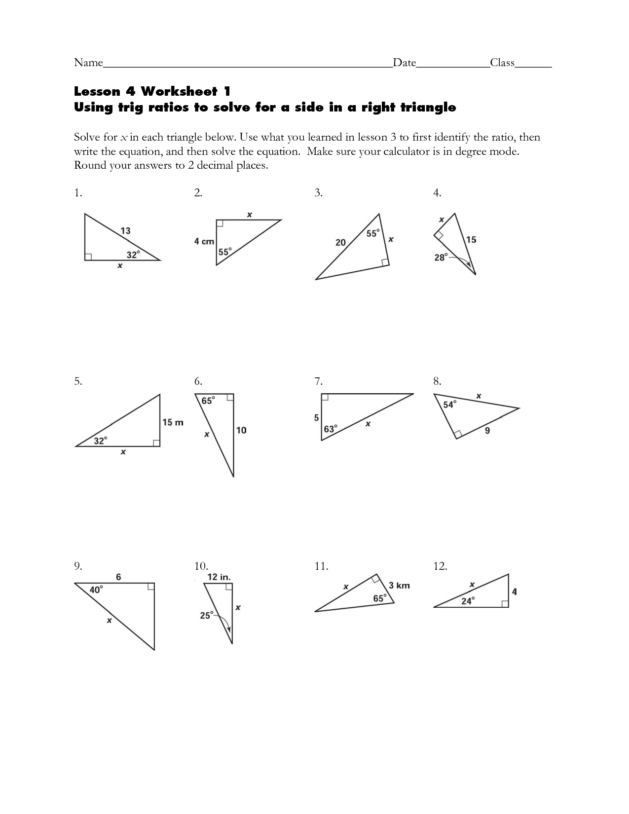 Solving Right Triangles In Trigonometry Worksheet